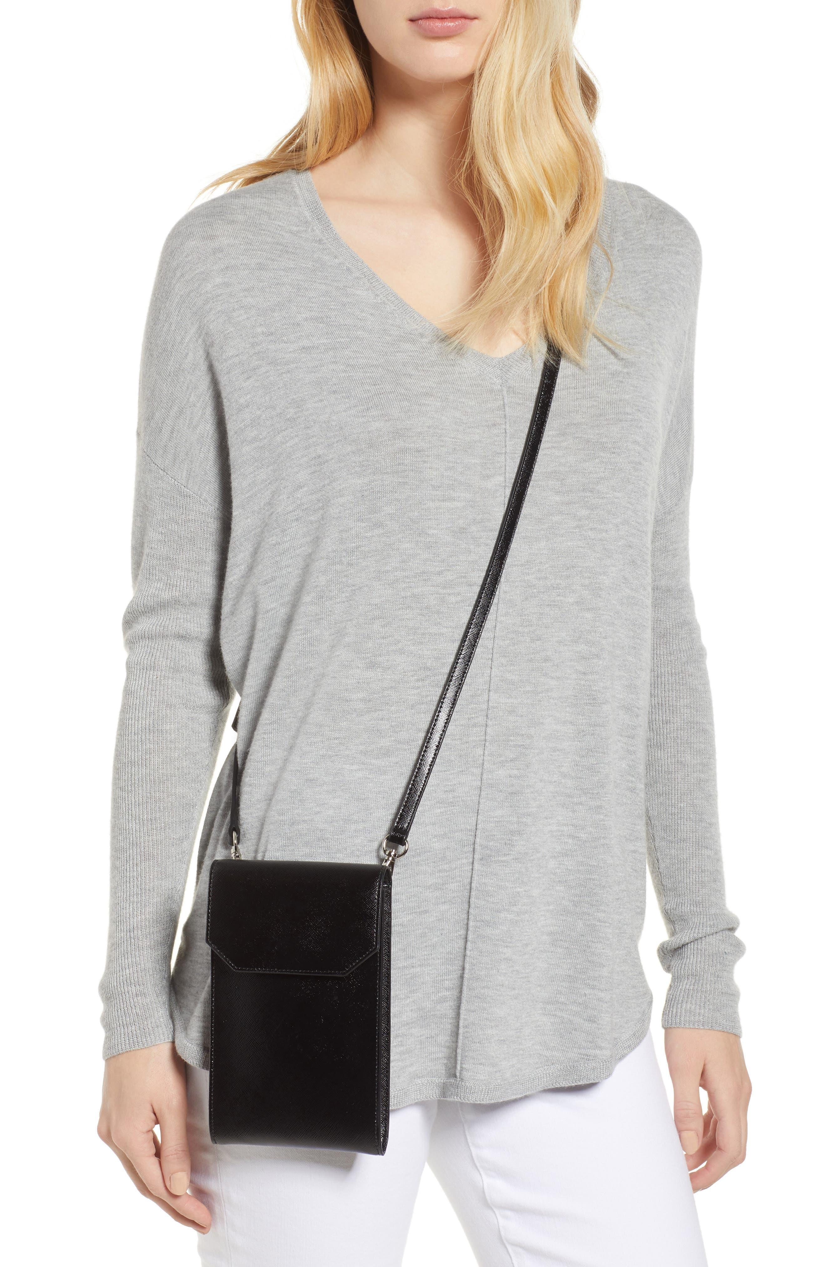 Leather Phone Crossbody Bag,                             Alternate thumbnail 2, color,                             BLACK