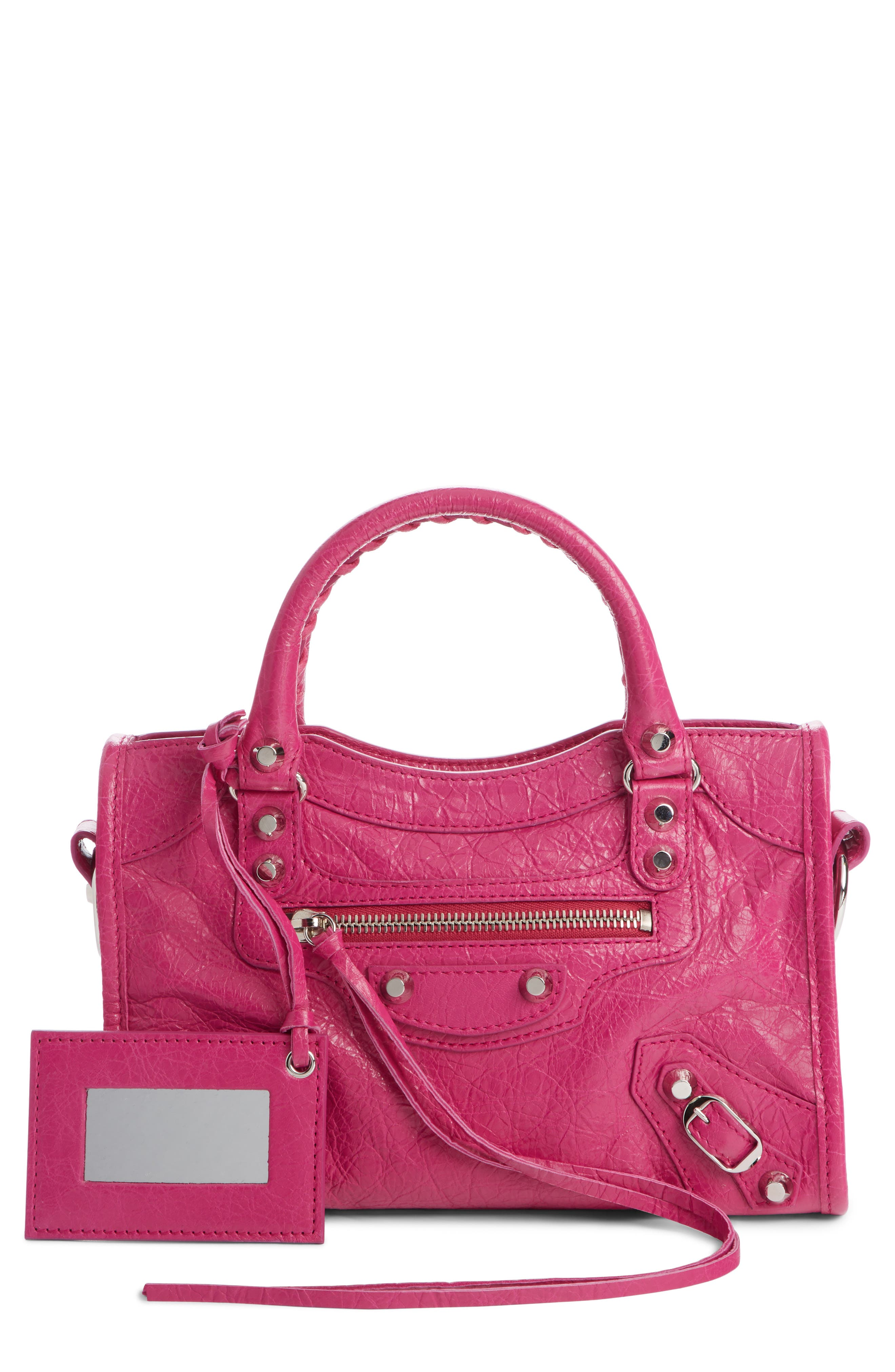 Classic Mini City Leather Tote,                         Main,                         color, ROSE MAGENTA