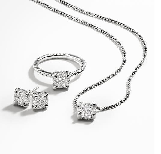 David Yurman necklace, ring and earrings from the new Châtelaine collection.