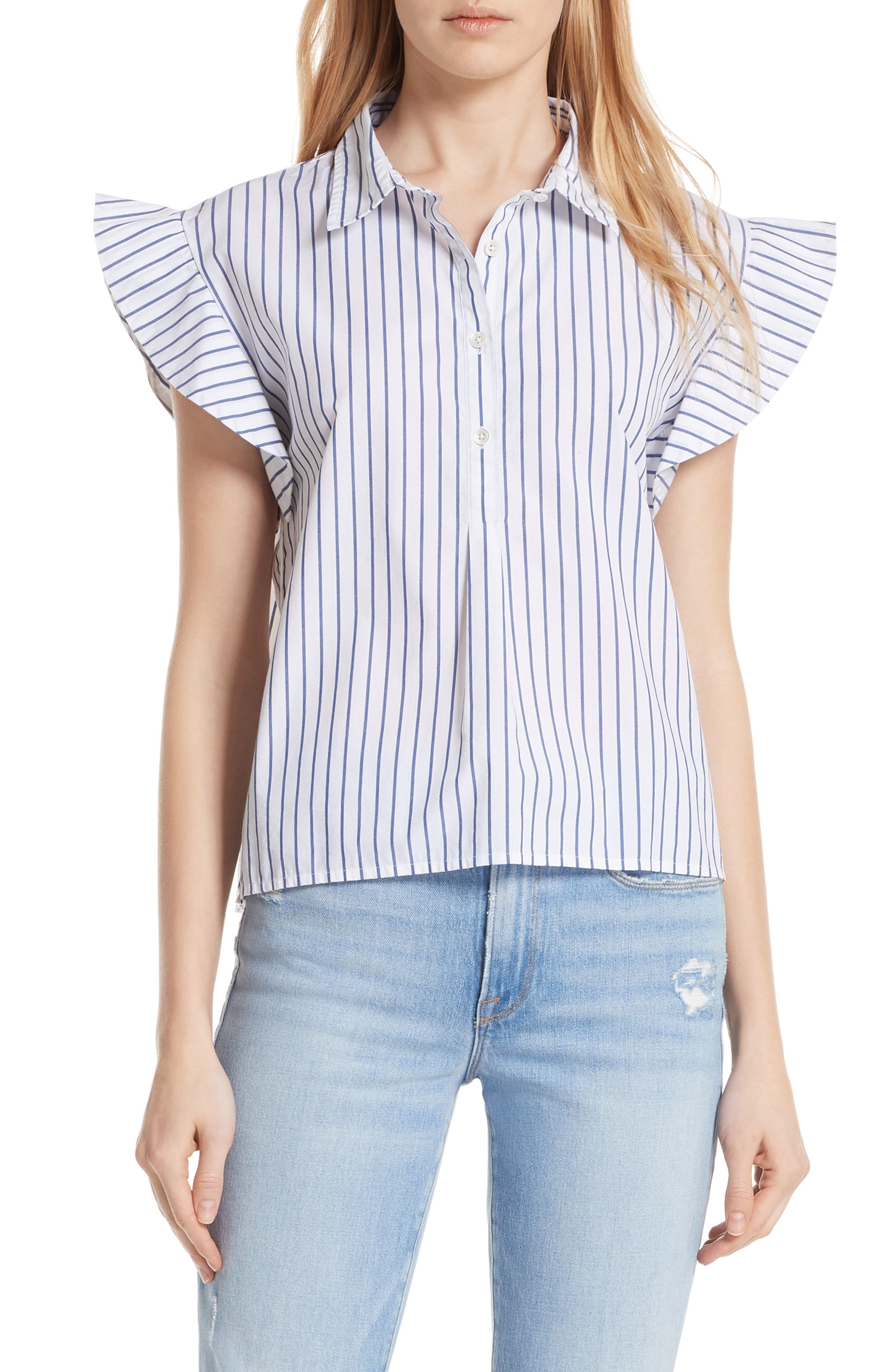 Flutter Sleeve Stripe Shirt,                             Main thumbnail 1, color,                             120