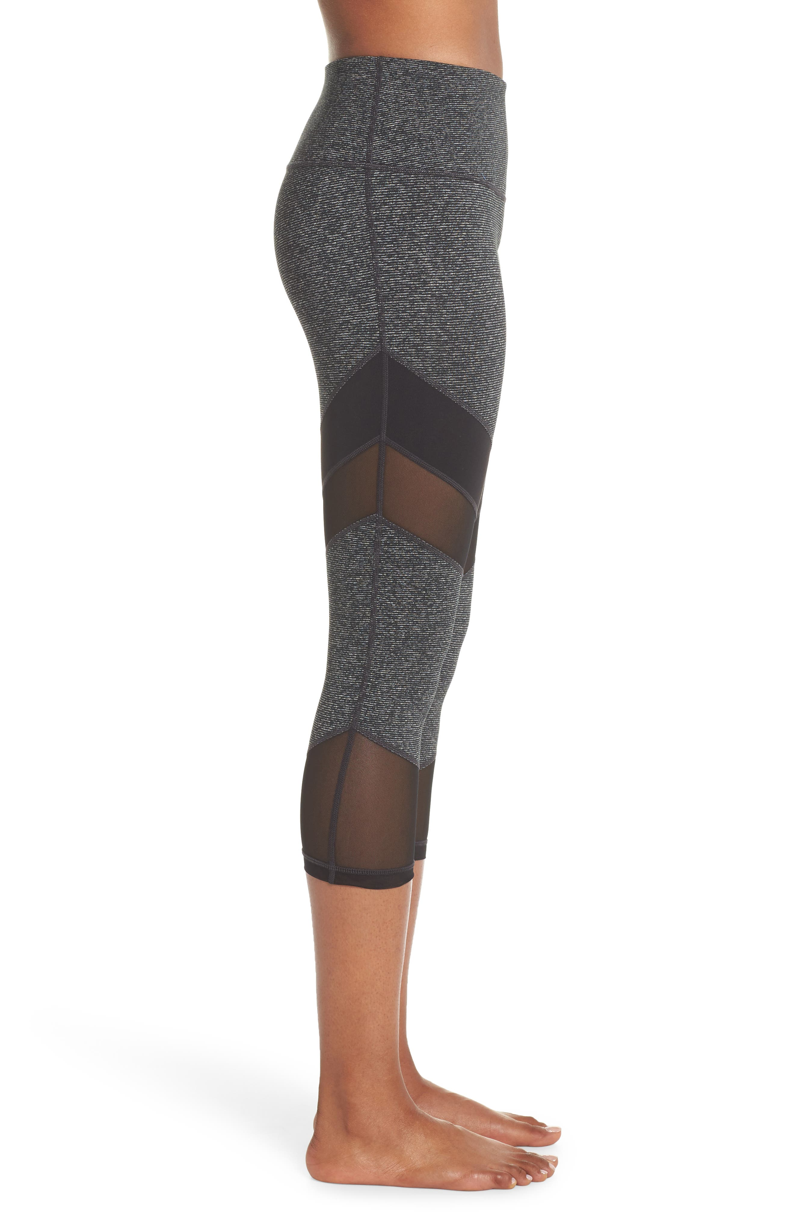 Live in Electric Mix Essential Mesh Crop Leggings,                             Alternate thumbnail 3, color,                             001