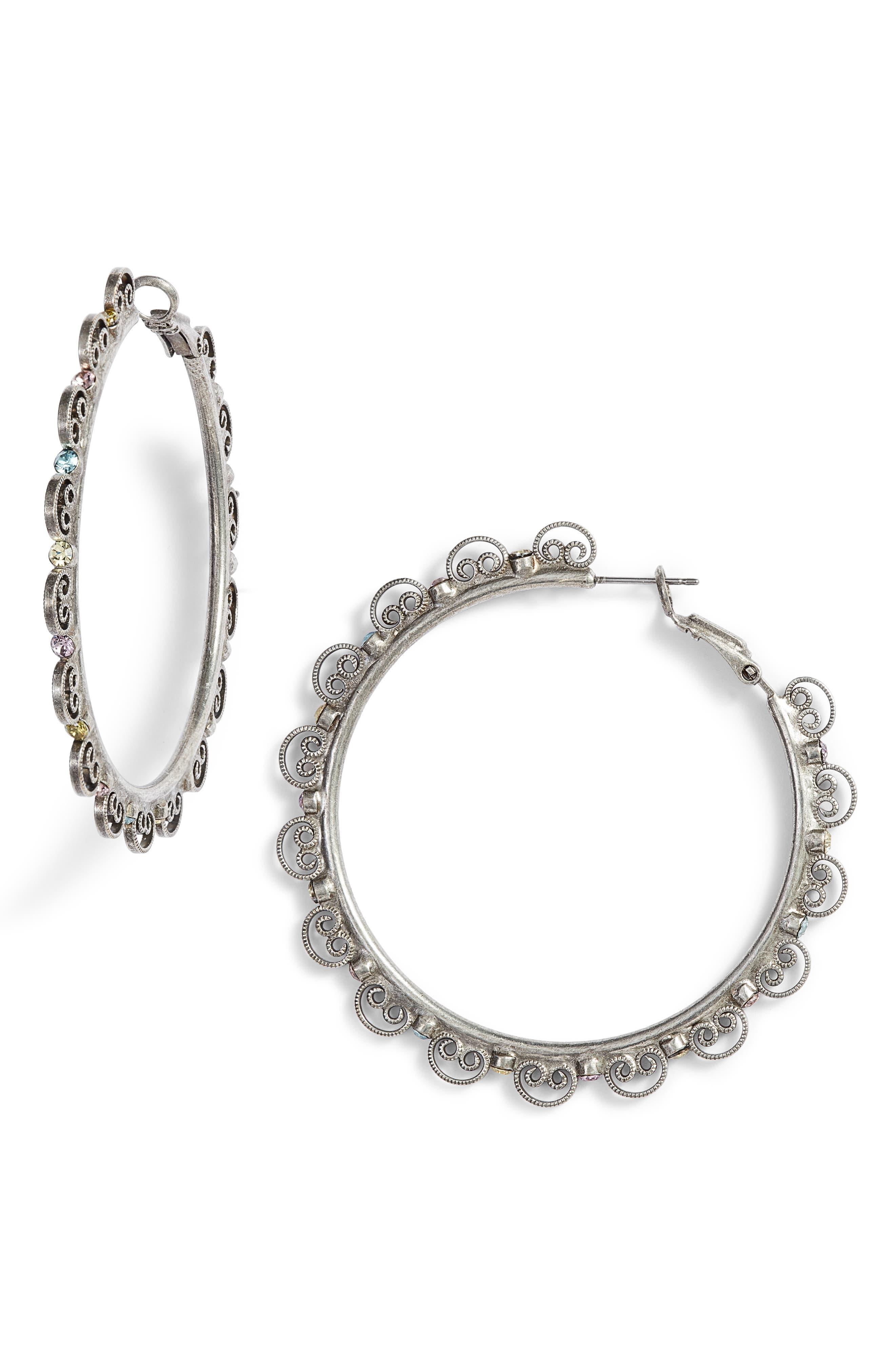 Foxglove Crystal Hoop Earrings,                             Main thumbnail 1, color,                             040