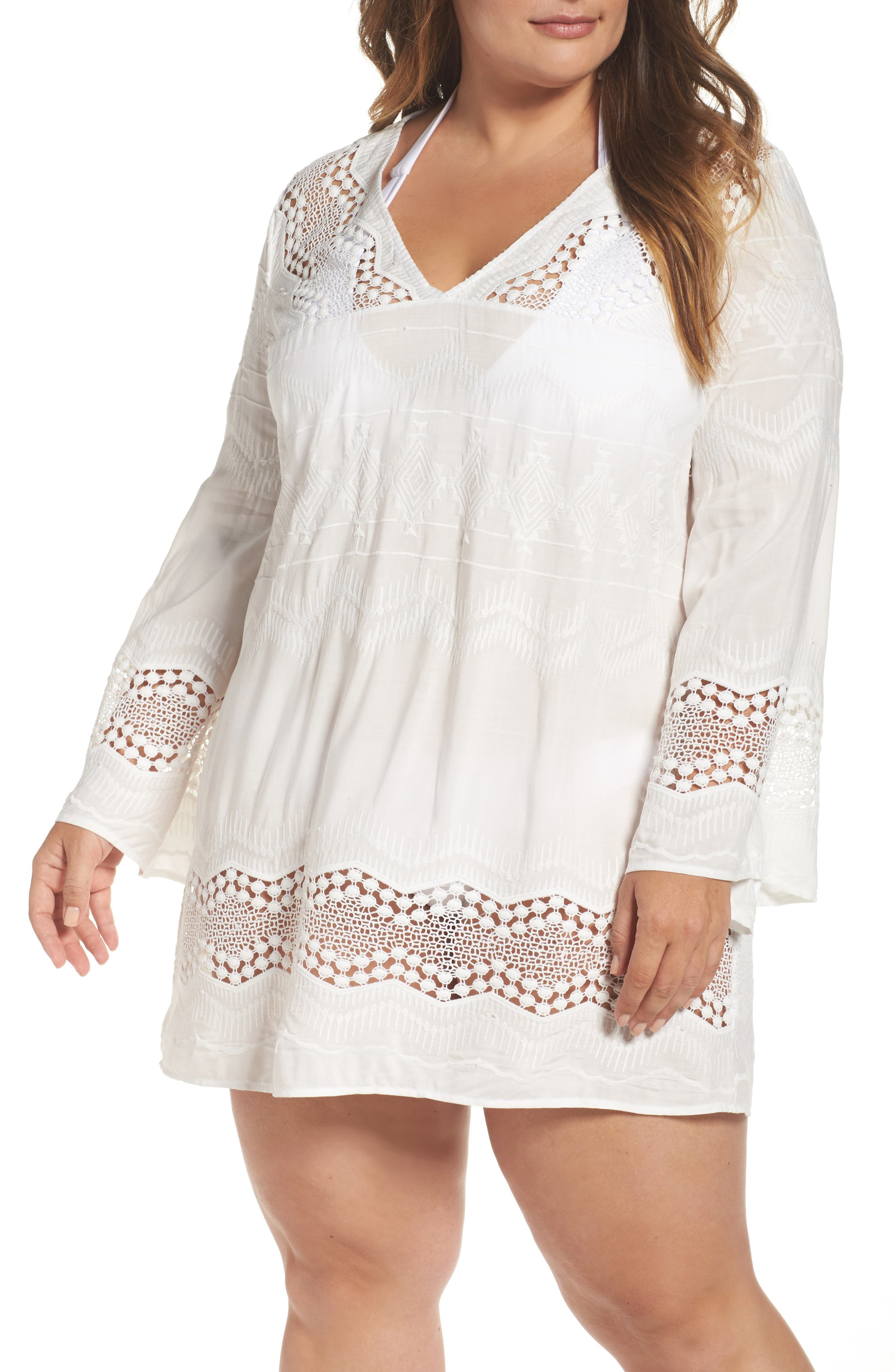 Plus Size La Blanca Cover-Up Tunic, White