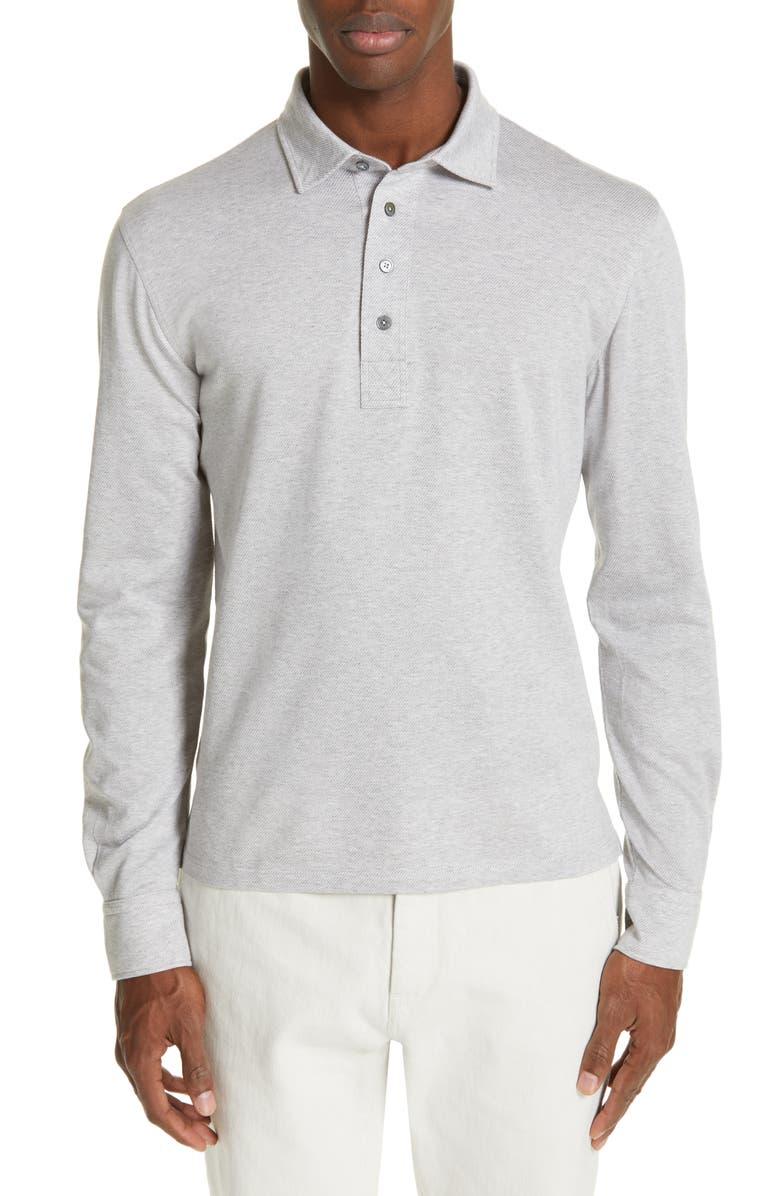 1bd22b2a4f Ermenegildo Zegna Cotton Long Sleeve Polo | Nordstrom