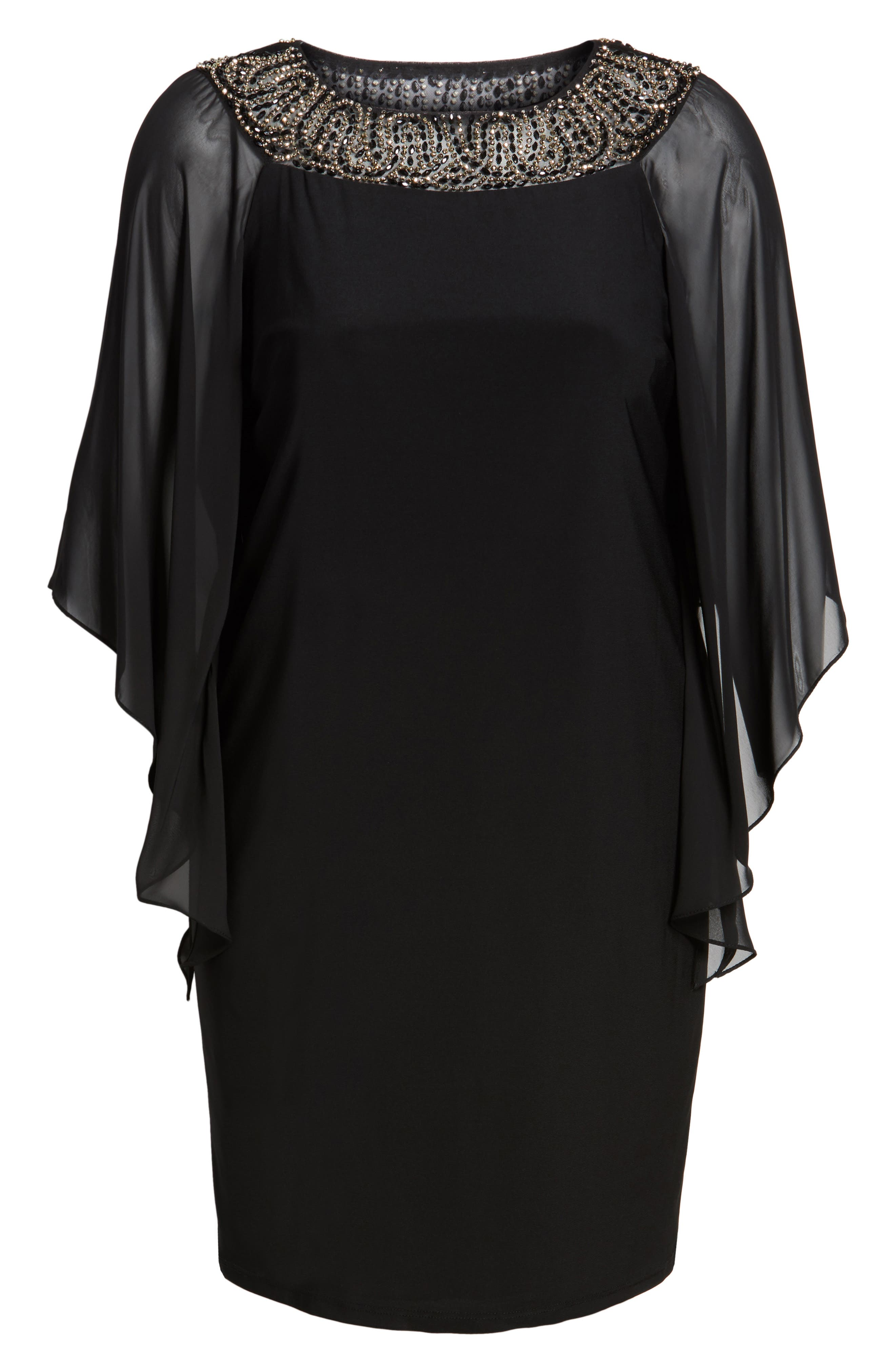 Beaded Chiffon Sleeve Sheath Dress,                             Alternate thumbnail 6, color,                             010