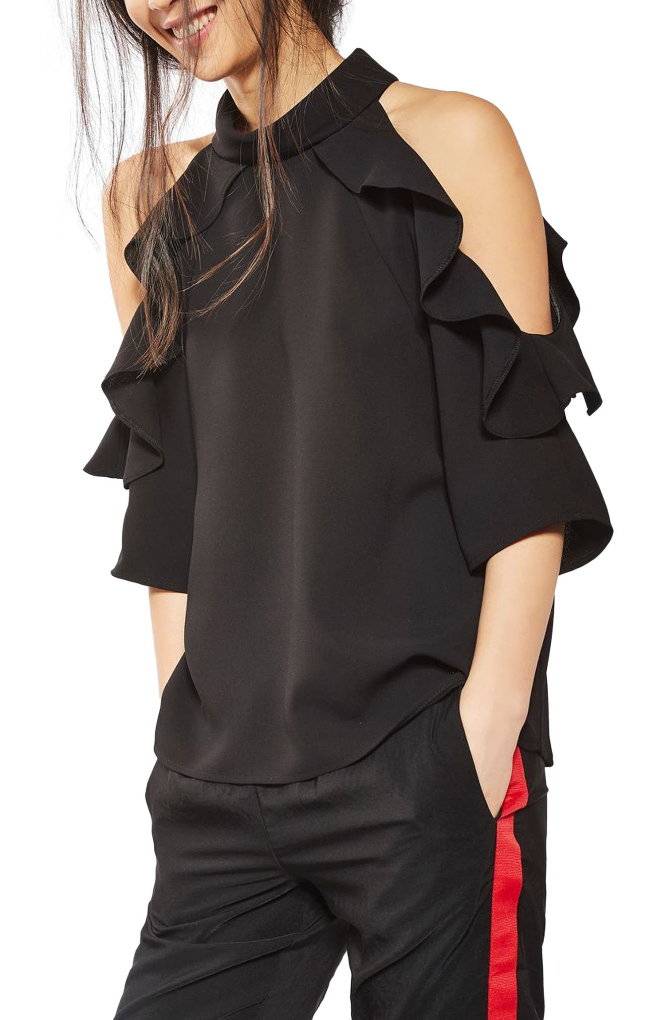 Ruffle Cold Shoulder Top,                             Main thumbnail 4, color,