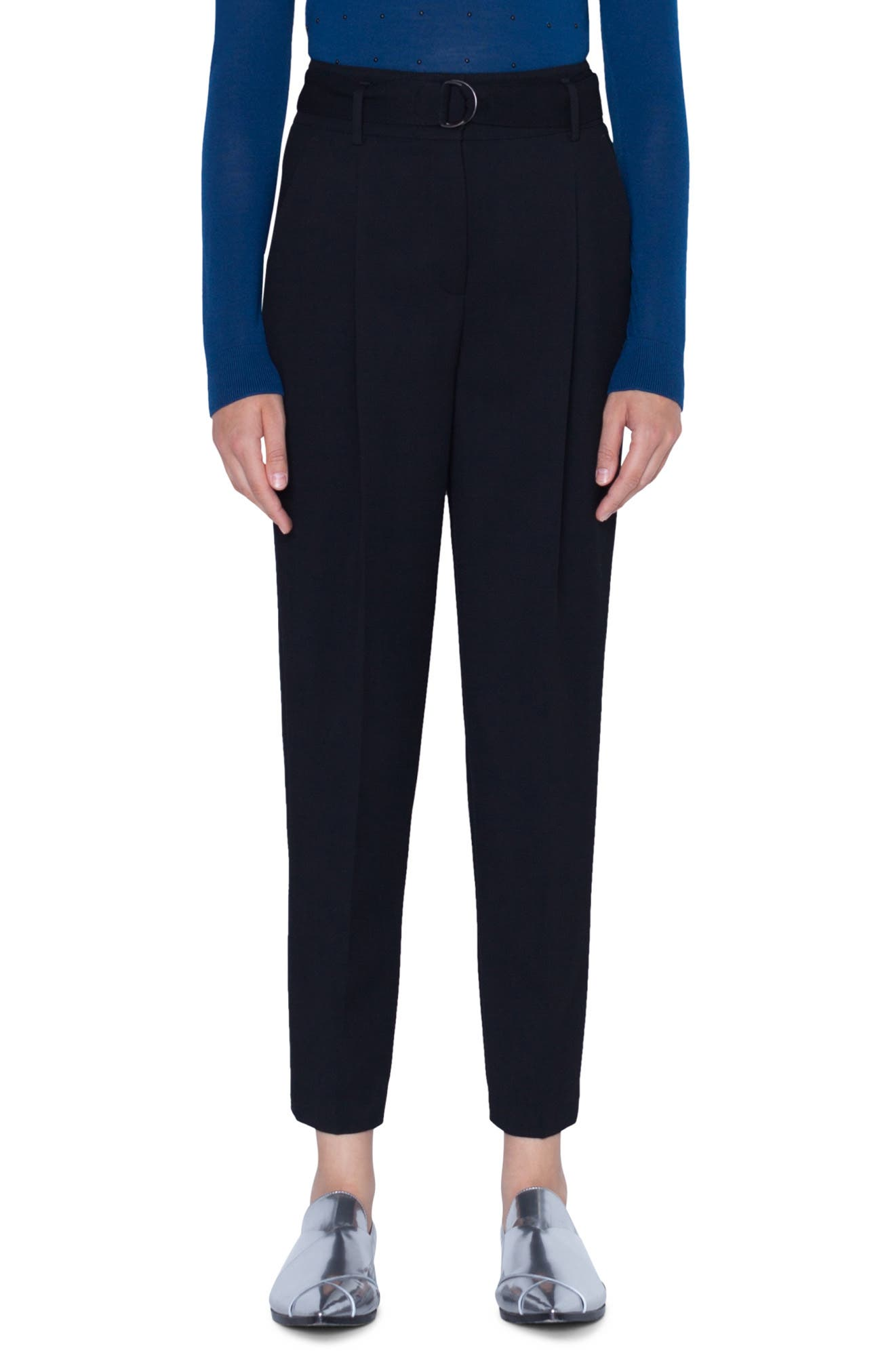 Fred Belted Cropped Wool Tricot Pants in Black