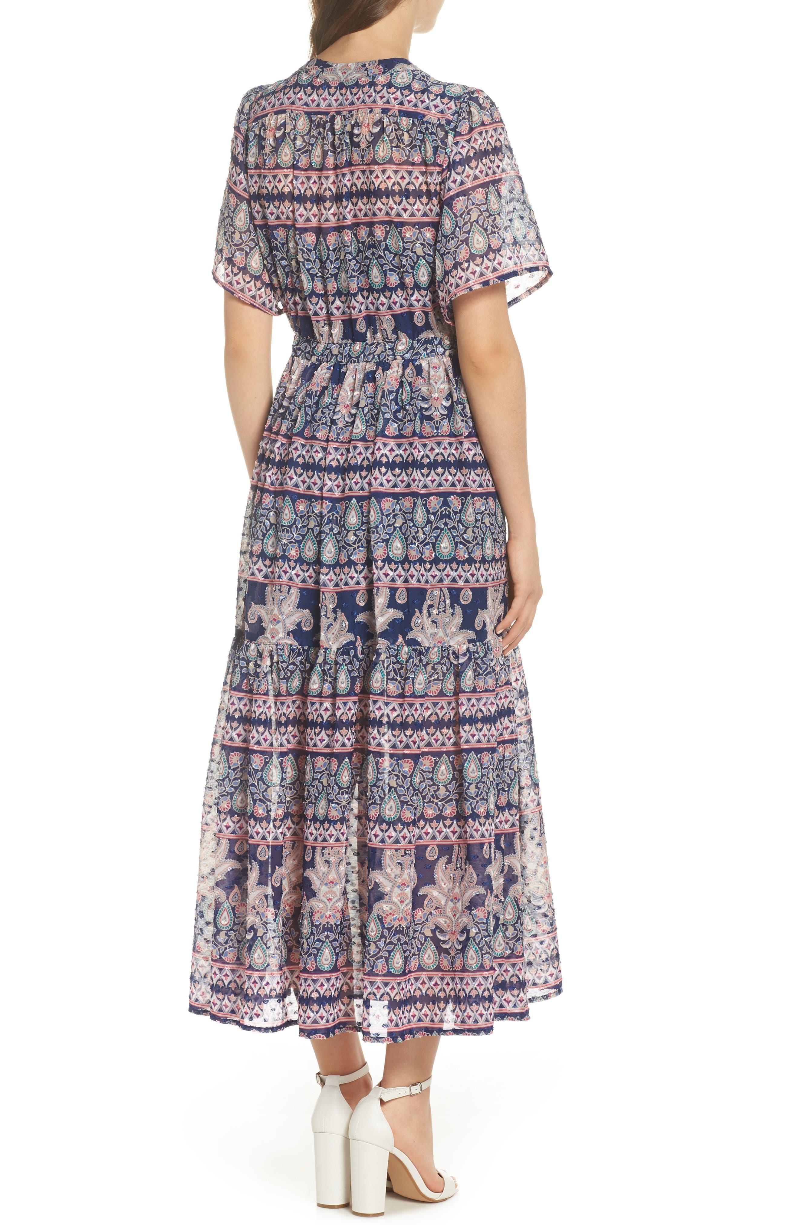 Print V-Neck Fil Coupé Dress,                             Alternate thumbnail 2, color,                             410
