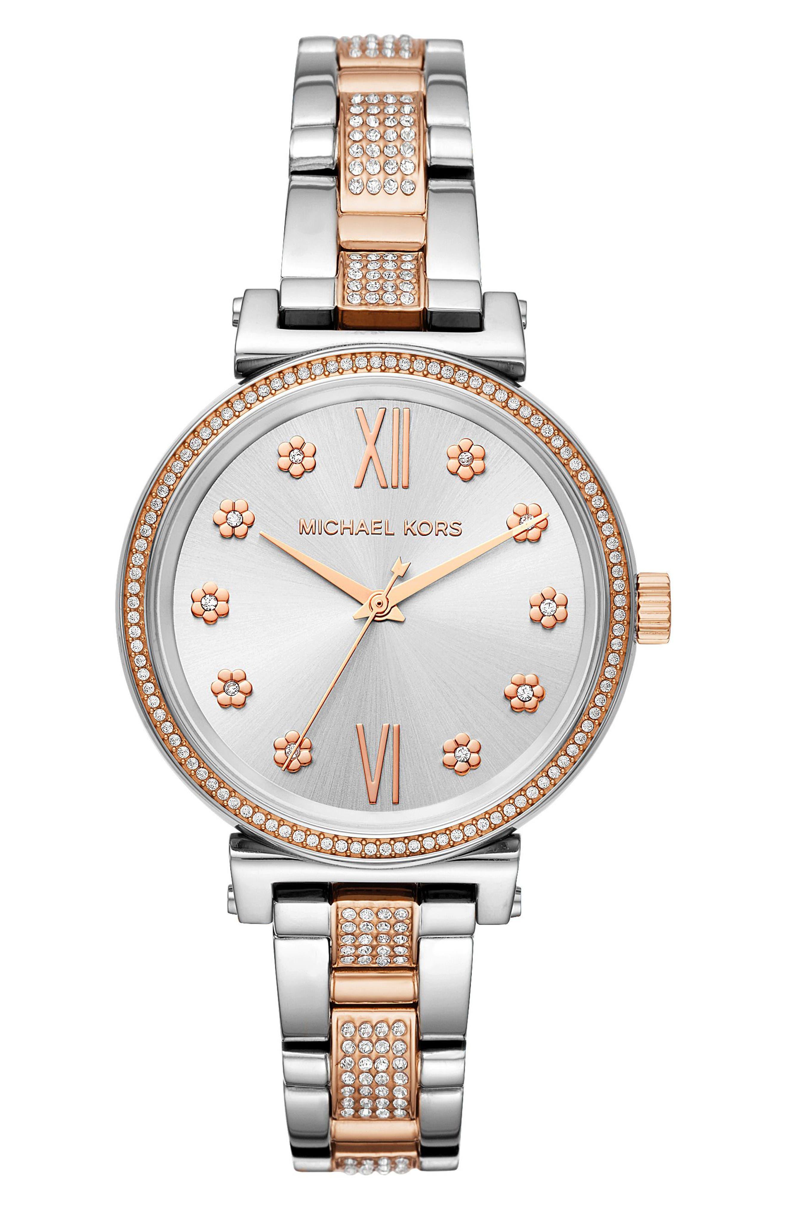 MICHAEL KORS,                             Sofie Bracelet Watch, 36mm,                             Main thumbnail 1, color,                             SILVER/ WHITE/ SILVER