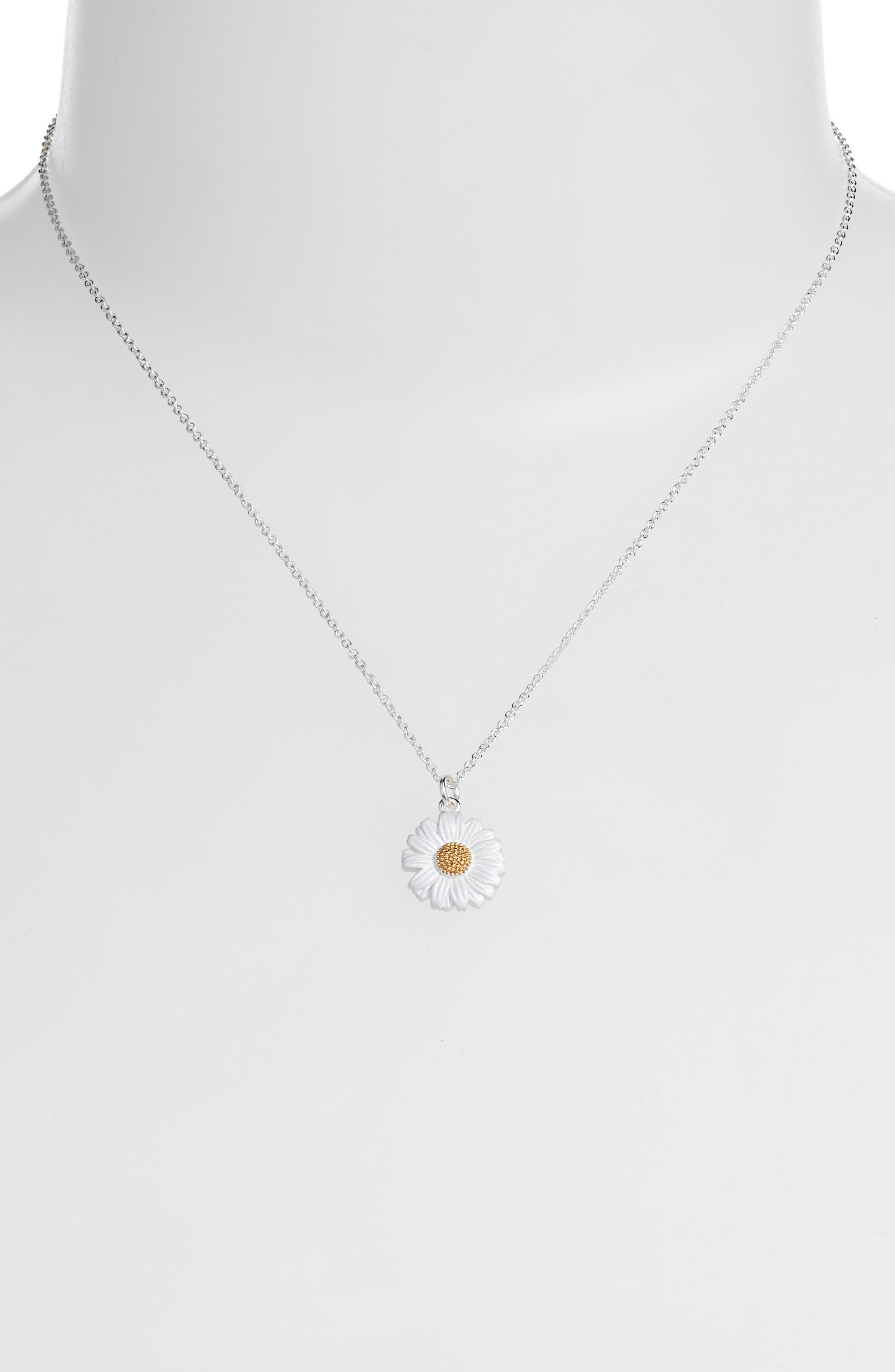3D Daisy Pendant Necklace,                             Alternate thumbnail 2, color,                             SILVER/ GOLD