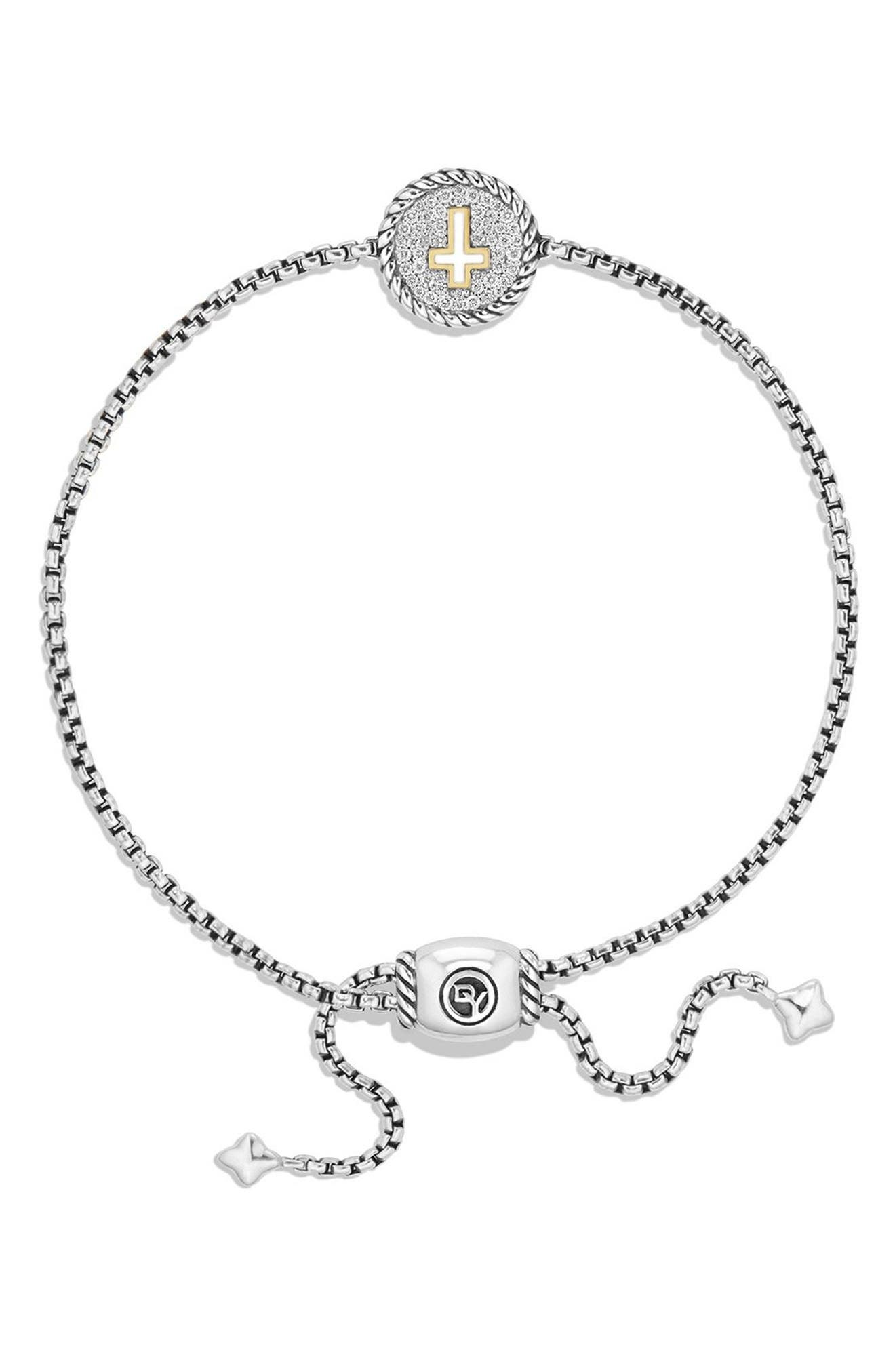 'Cable Collectibles' Cross Charm Bracelet with Diamonds,                             Alternate thumbnail 4, color,                             SILVER/ GOLD