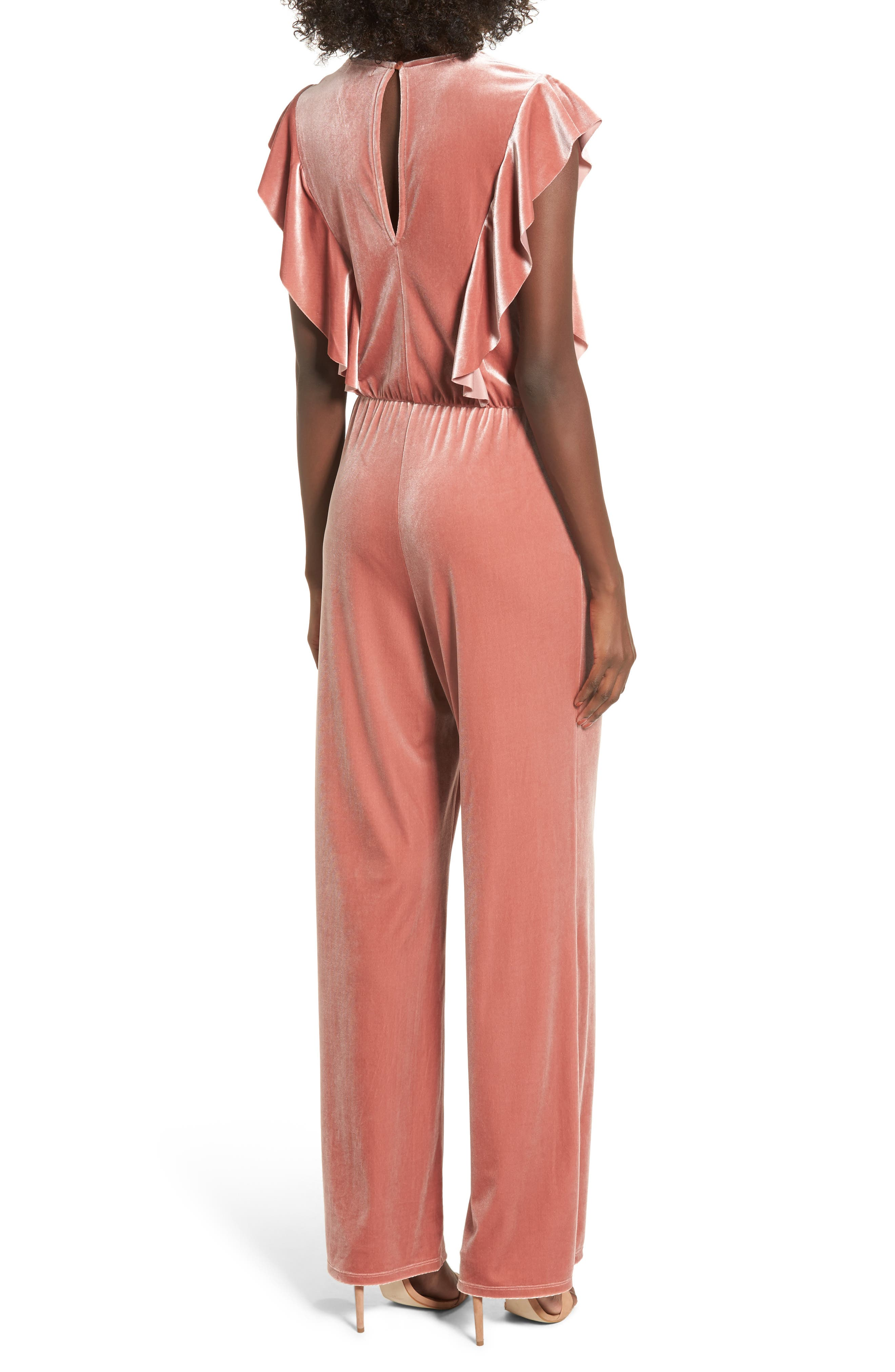 Ruffle Velour Jumpsuit,                             Alternate thumbnail 2, color,                             958