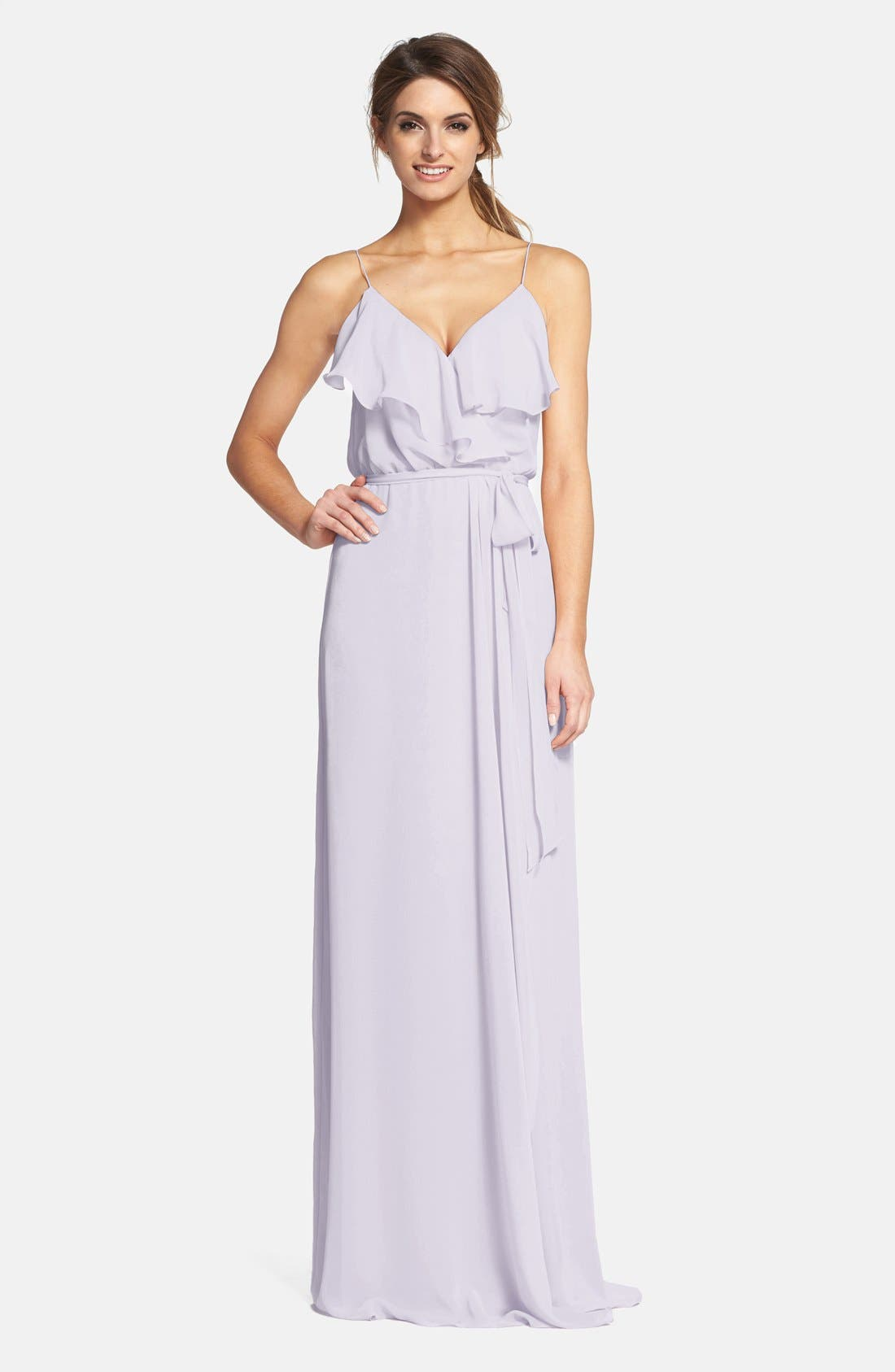 'Drew' Ruffle Front Chiffon Gown,                             Main thumbnail 9, color,
