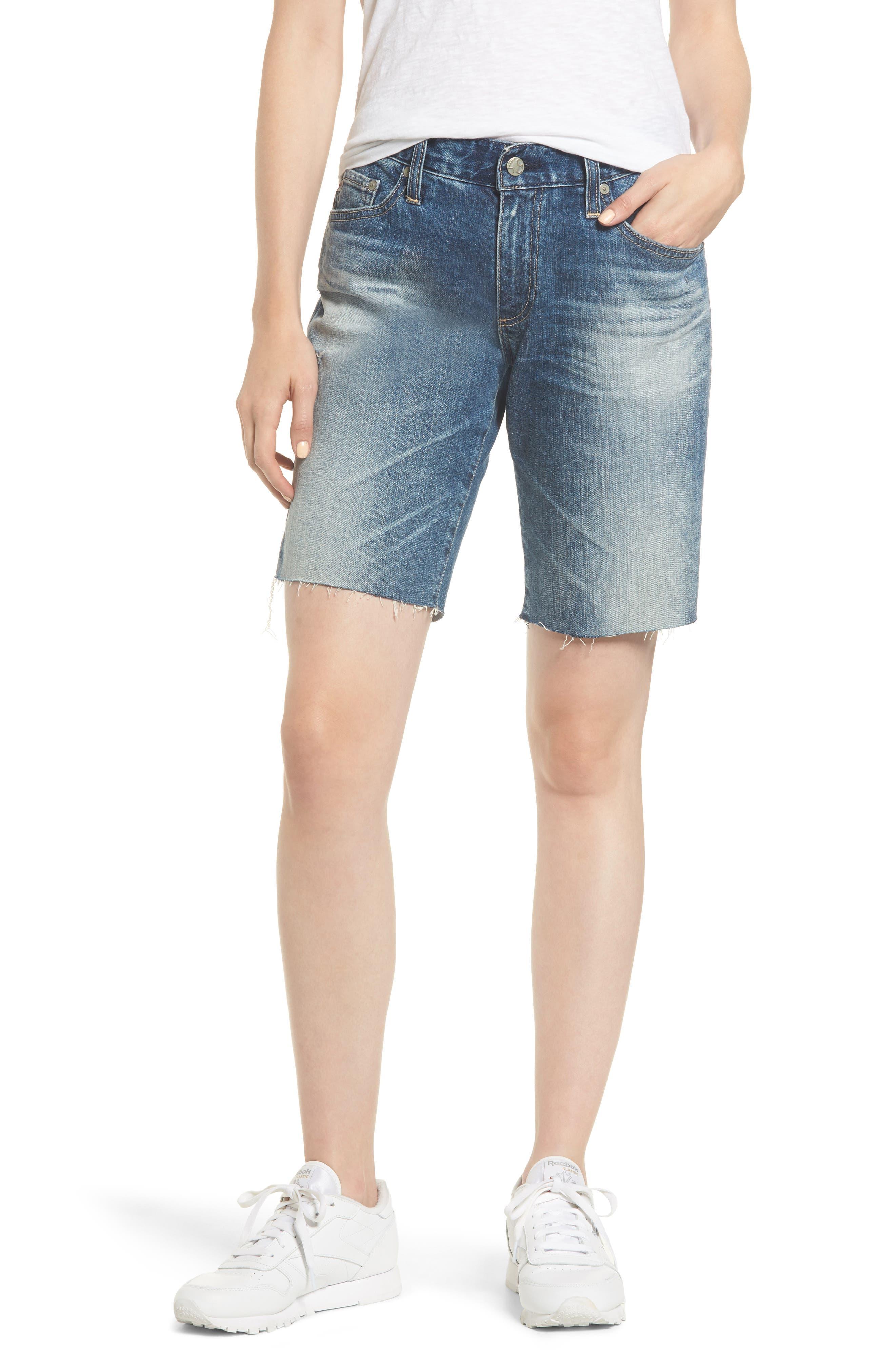 Nikki Cutoff Denim Shorts,                         Main,                         color, 20Y BRILLANCE