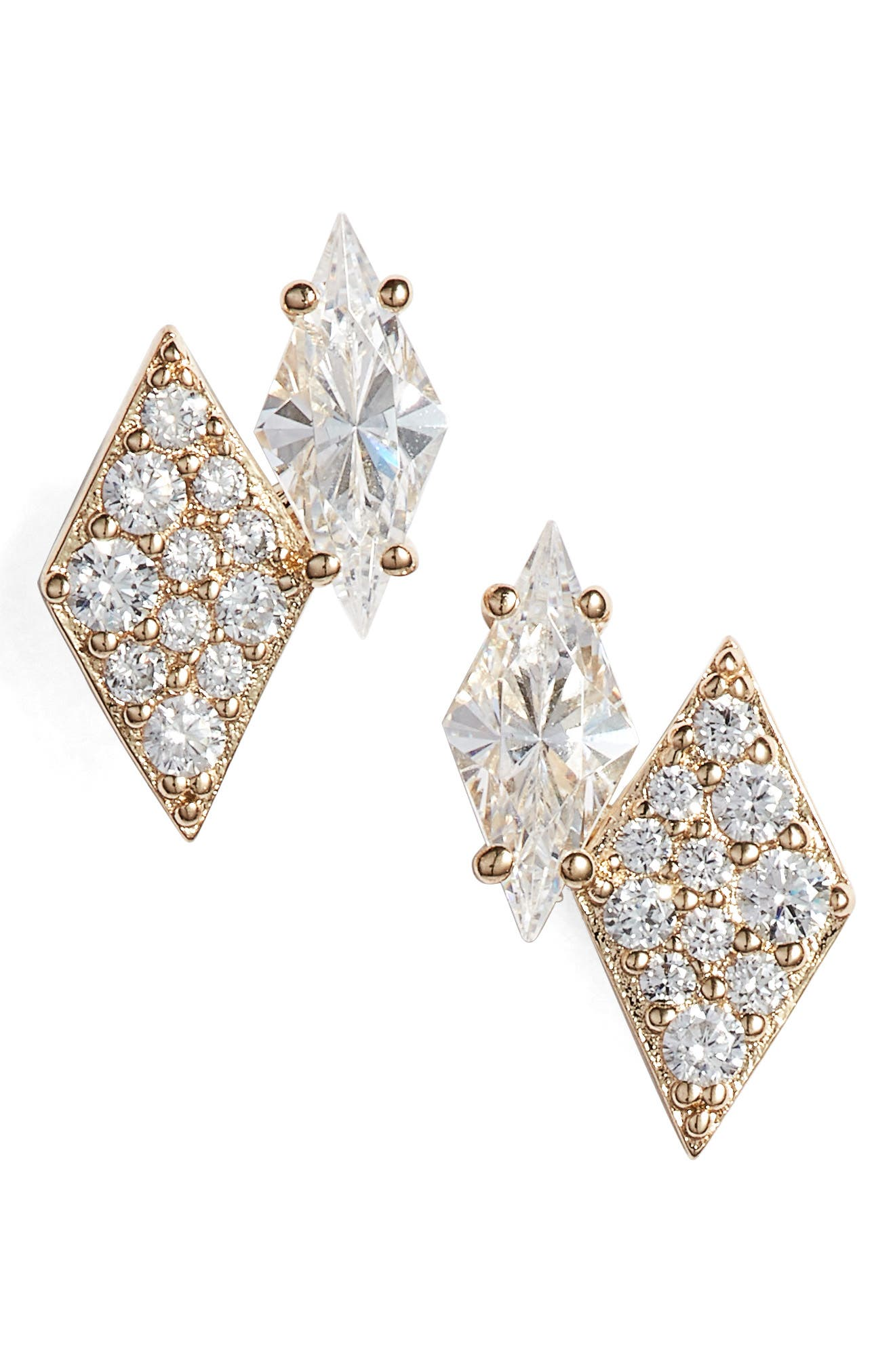 NADRI Luminous Crystal Double Diamond Earrings in Gold
