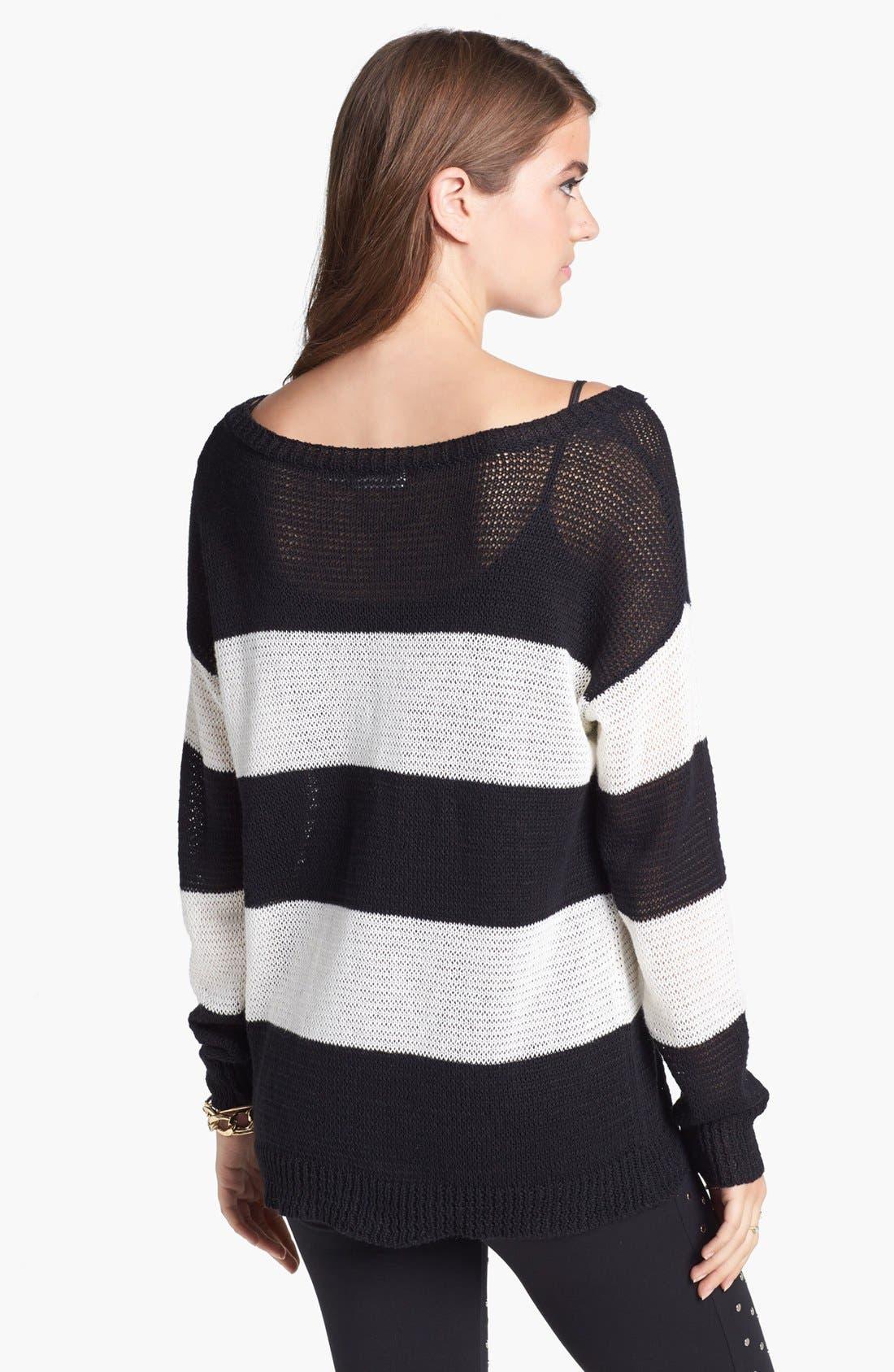 Wide Neck Stripe Sweater,                             Alternate thumbnail 3, color,                             002