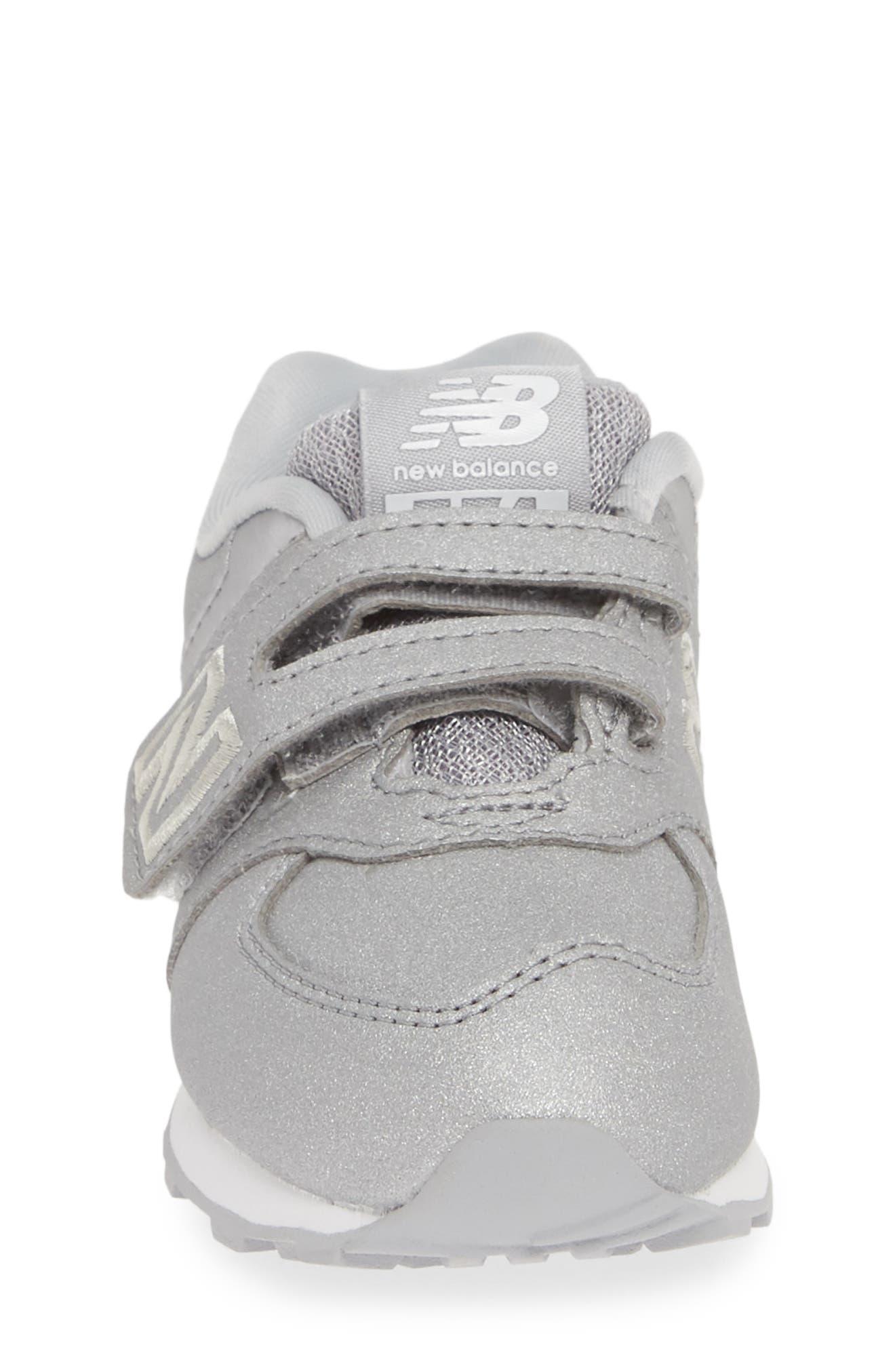 574 Essentials Glitter Sneaker,                             Alternate thumbnail 4, color,                             SILVER