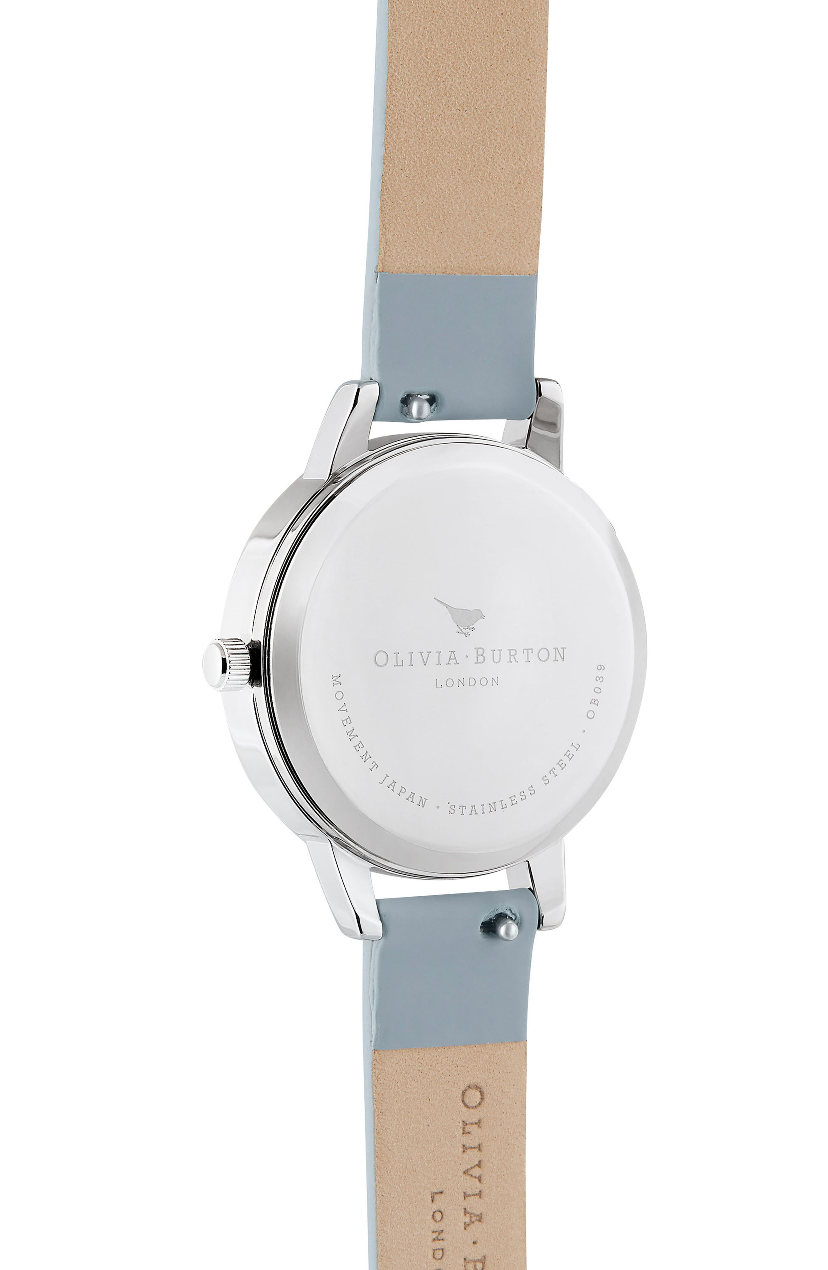 Pretty Blossom Leather Strap Watch, 30mm,                             Alternate thumbnail 3, color,                             CHALK/ WHITE/ BLOSSOM/ SILVER