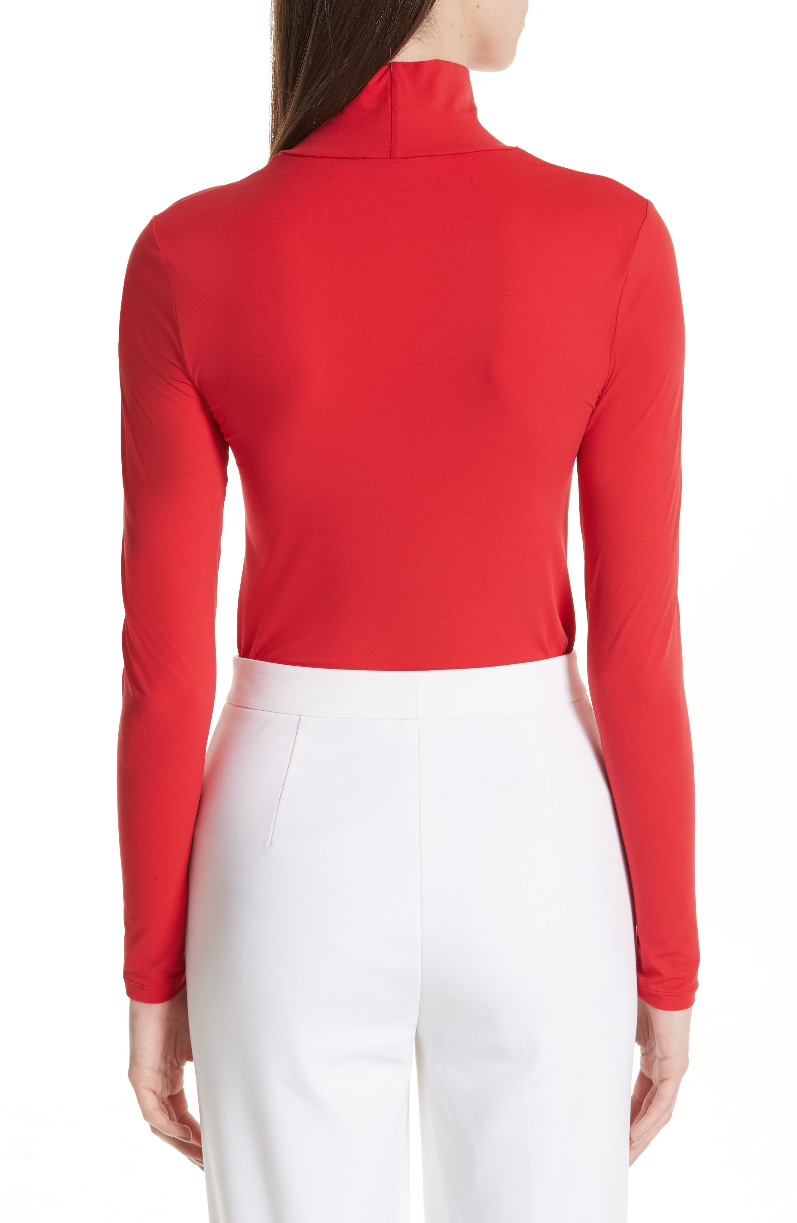 ST. JOHN COLLECTION,                             Nuda Fine Jersey Turtleneck Shell,                             Alternate thumbnail 2, color,                             CRIMSON