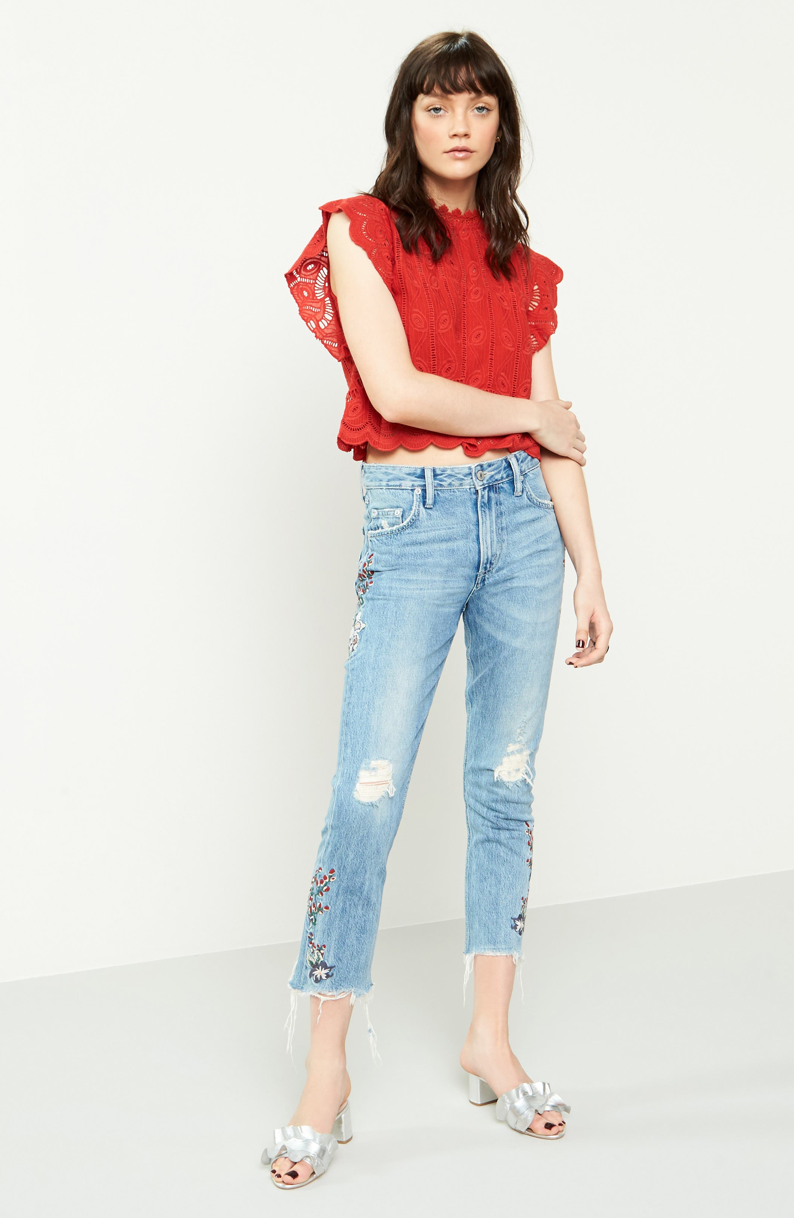 Hailey Embroidered Straight Leg Crop Jeans,                             Alternate thumbnail 6, color,                             400
