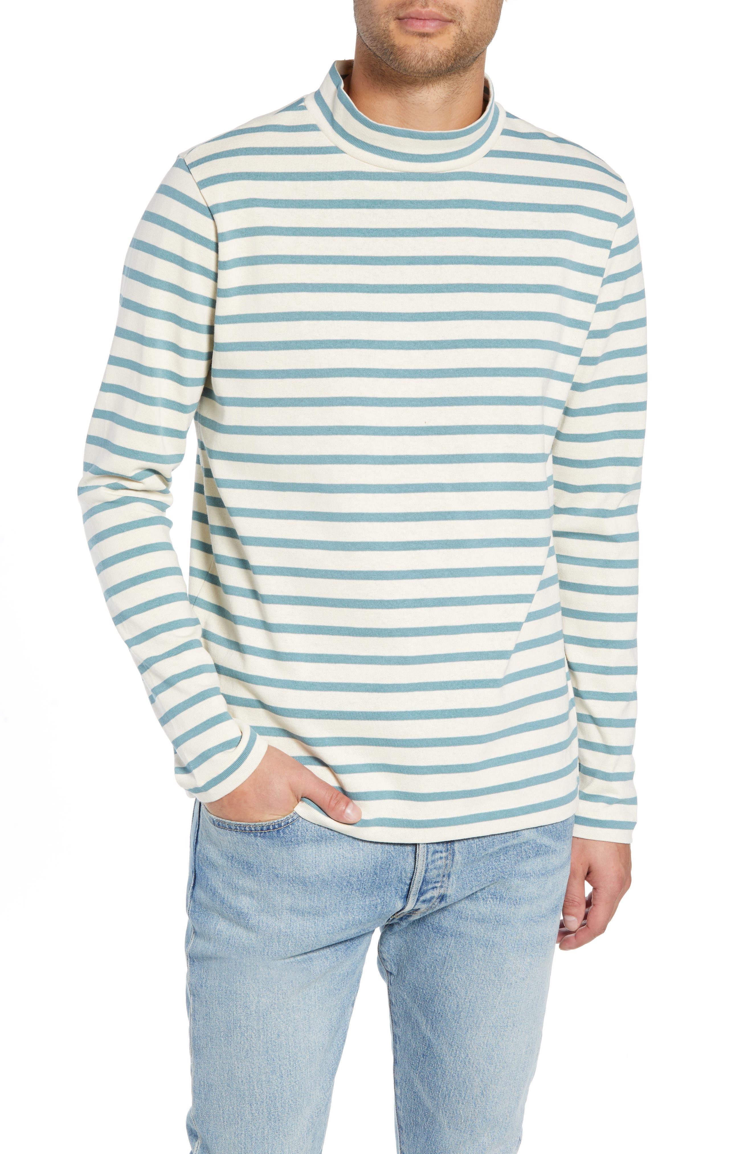 Striped Mock Neck T-Shirt,                         Main,                         color, 900