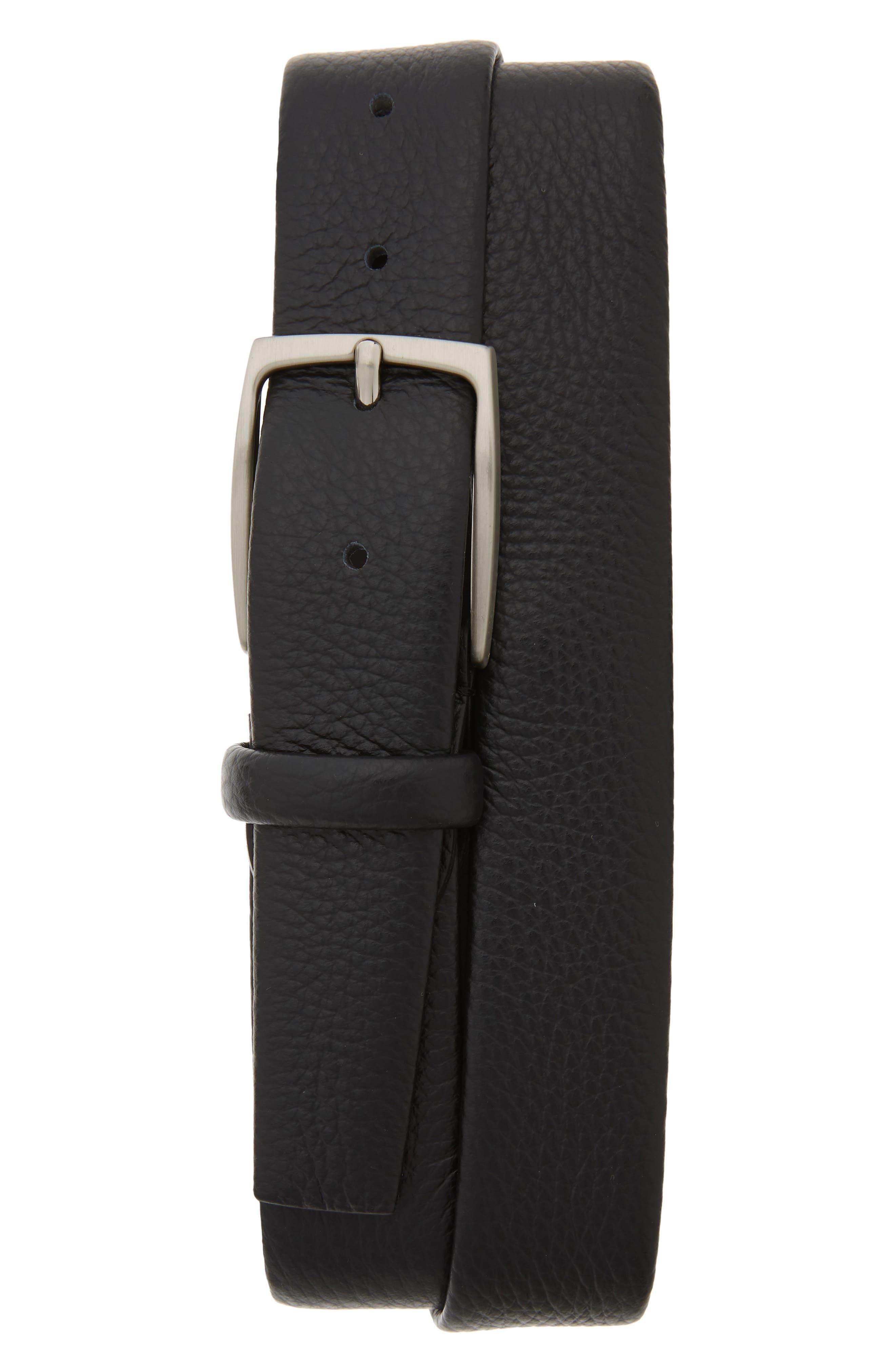 Tubular Tumbled Leather Belt,                             Main thumbnail 1, color,                             BLACK