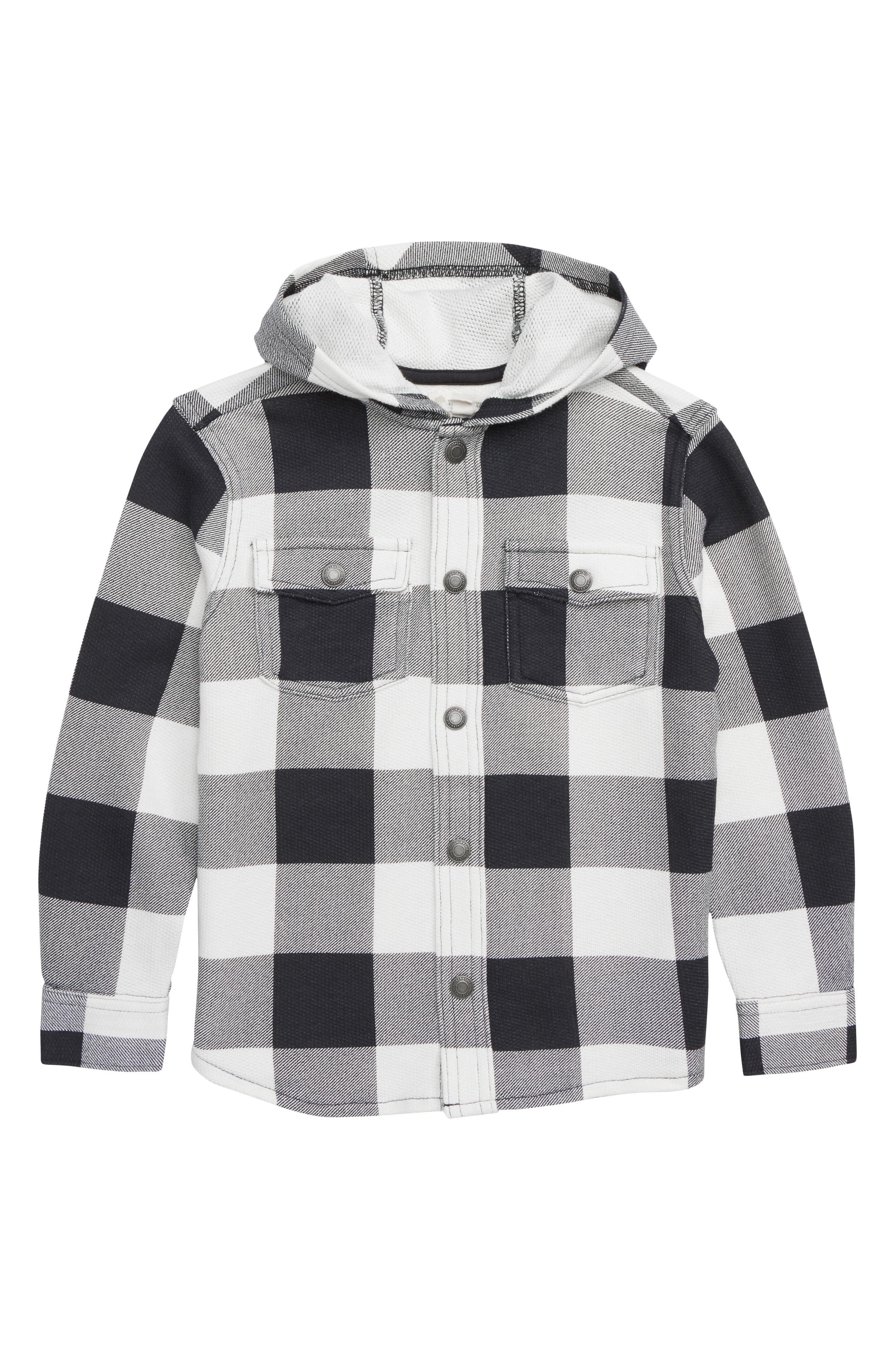 Buffalo Check Hooded Shirt,                             Main thumbnail 1, color,                             WHITE- BLACK GINGHAM