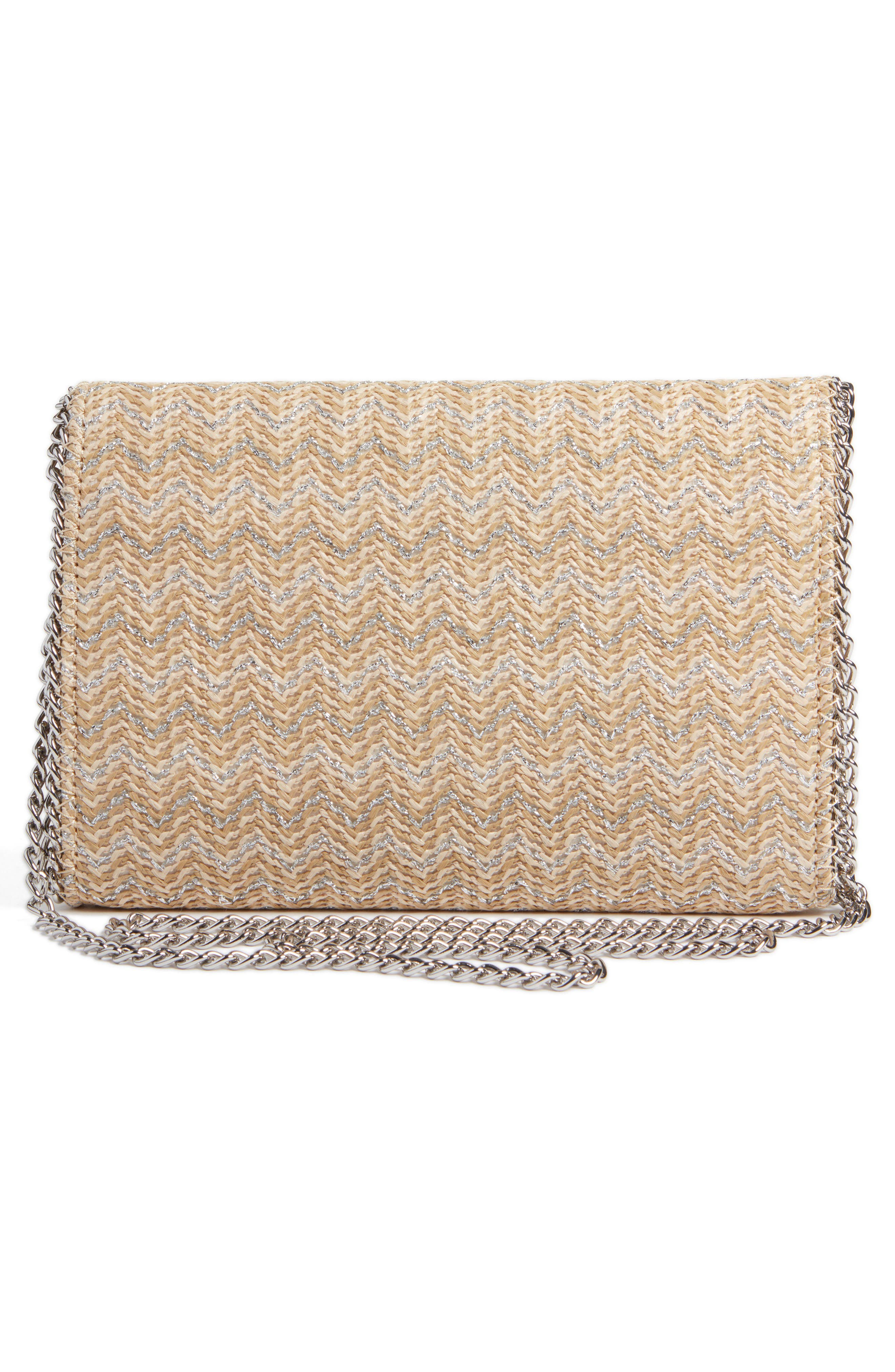Stripe Straw Convertible Clutch,                             Alternate thumbnail 3, color,                             040