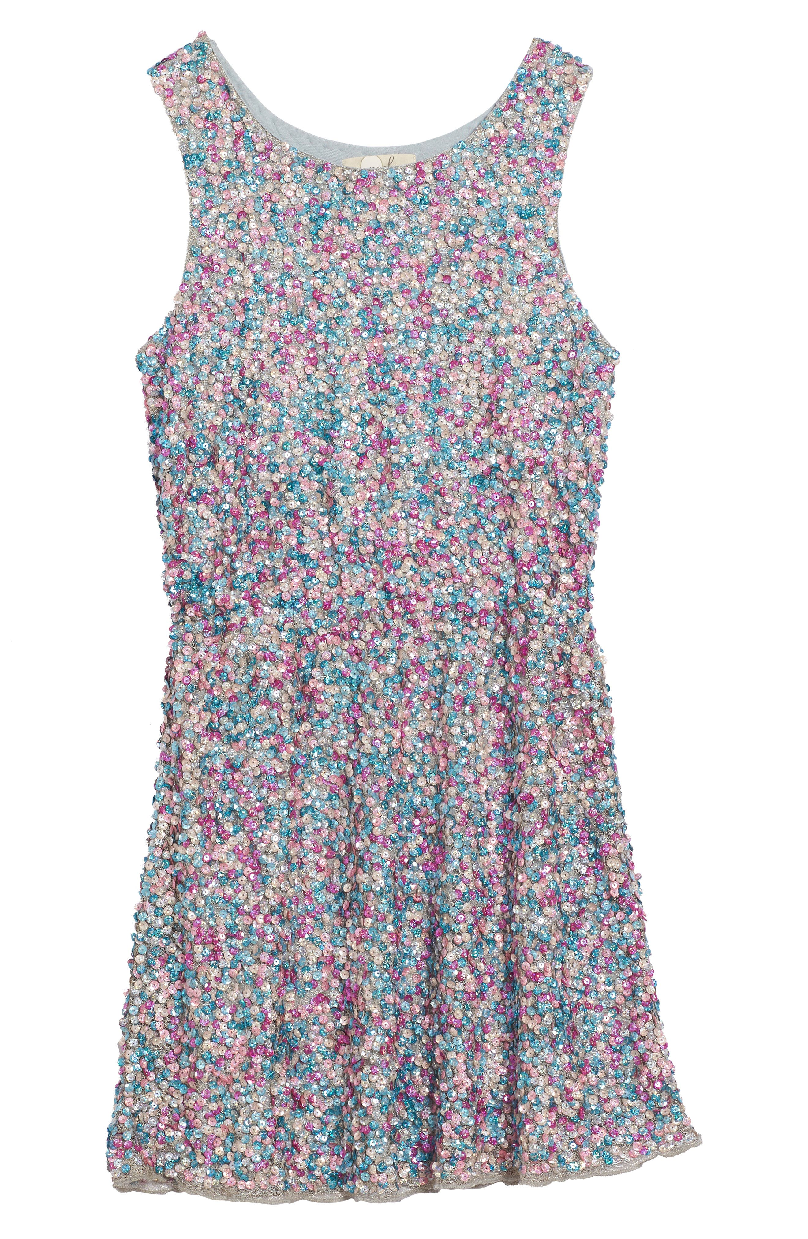 Zoe Sequin Dress,                             Main thumbnail 1, color,                             400