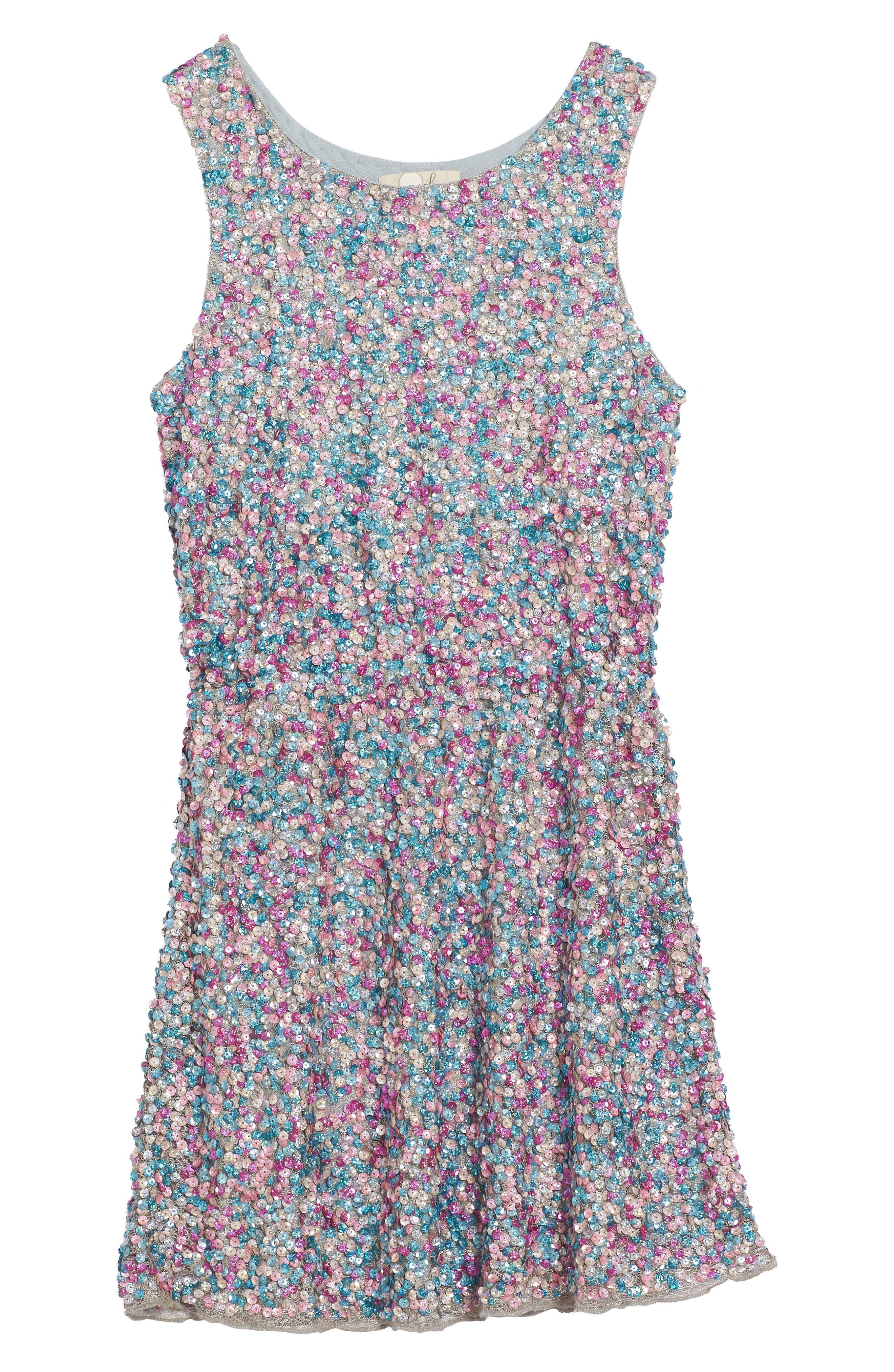 Zoe Sequin Dress,                         Main,                         color, 400