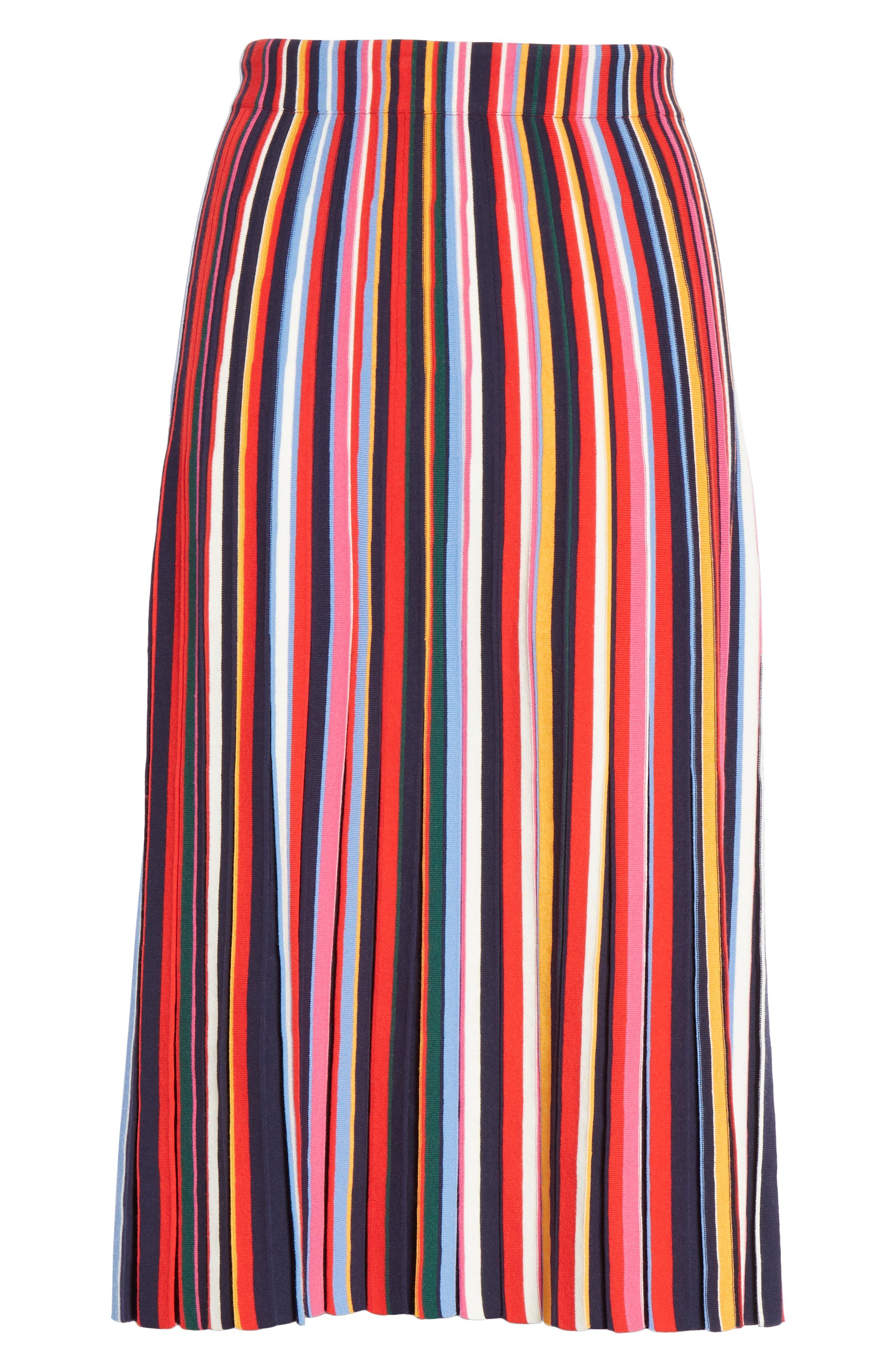 Ellis Stripe Pleated Skirt,                             Alternate thumbnail 6, color,                             405