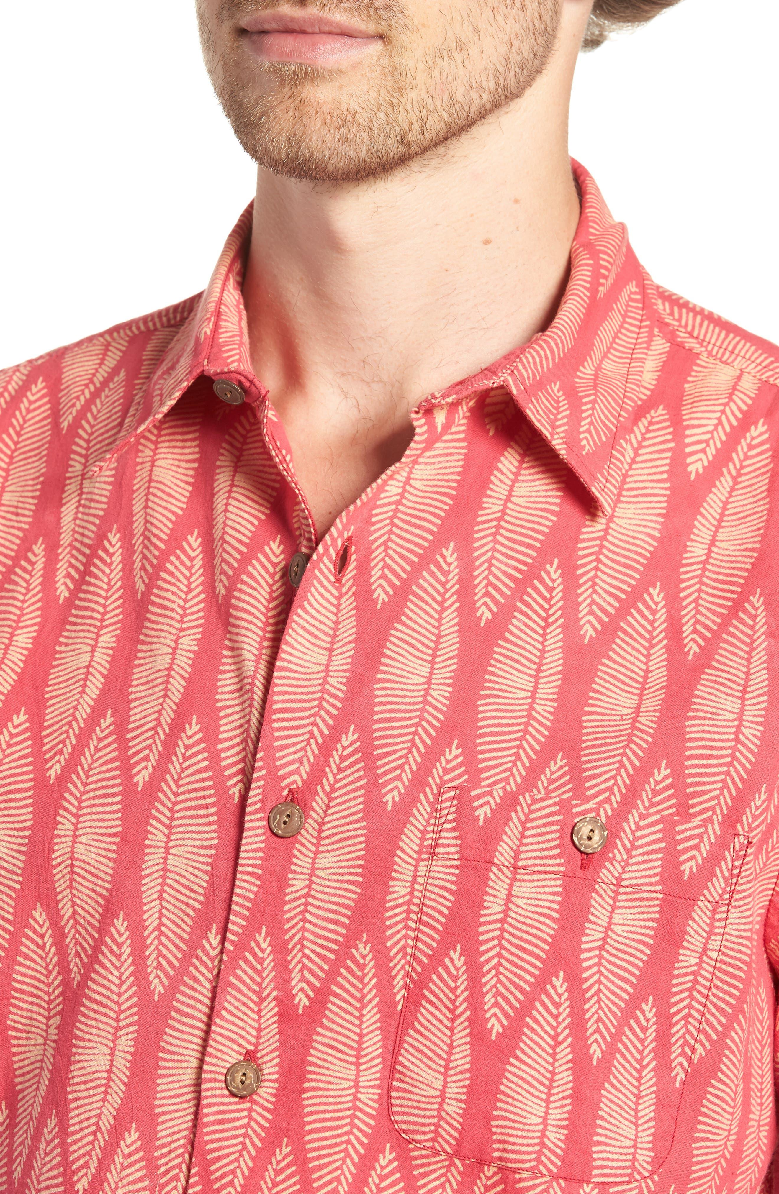 Coast Surfboard Leaf Print Sport Shirt,                             Alternate thumbnail 4, color,