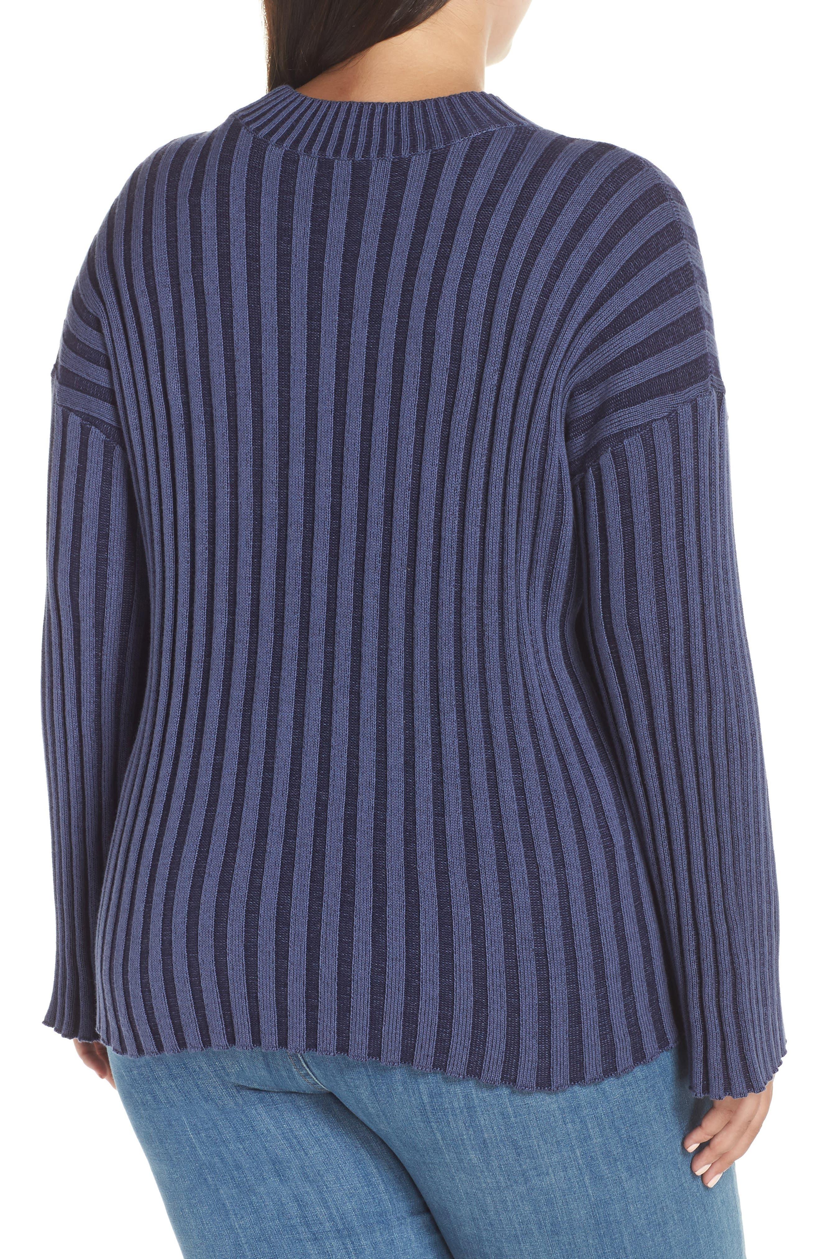 Shadow Rib Crop Sweater,                             Alternate thumbnail 8, color,                             NAVY EVENING
