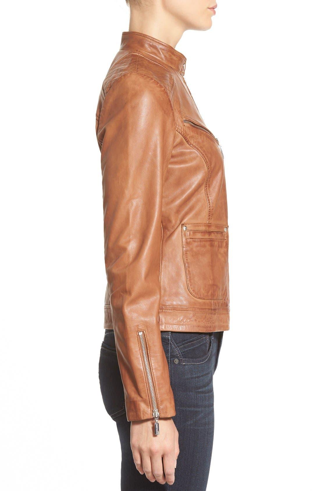 Zip Front Leather Jacket,                             Alternate thumbnail 10, color,