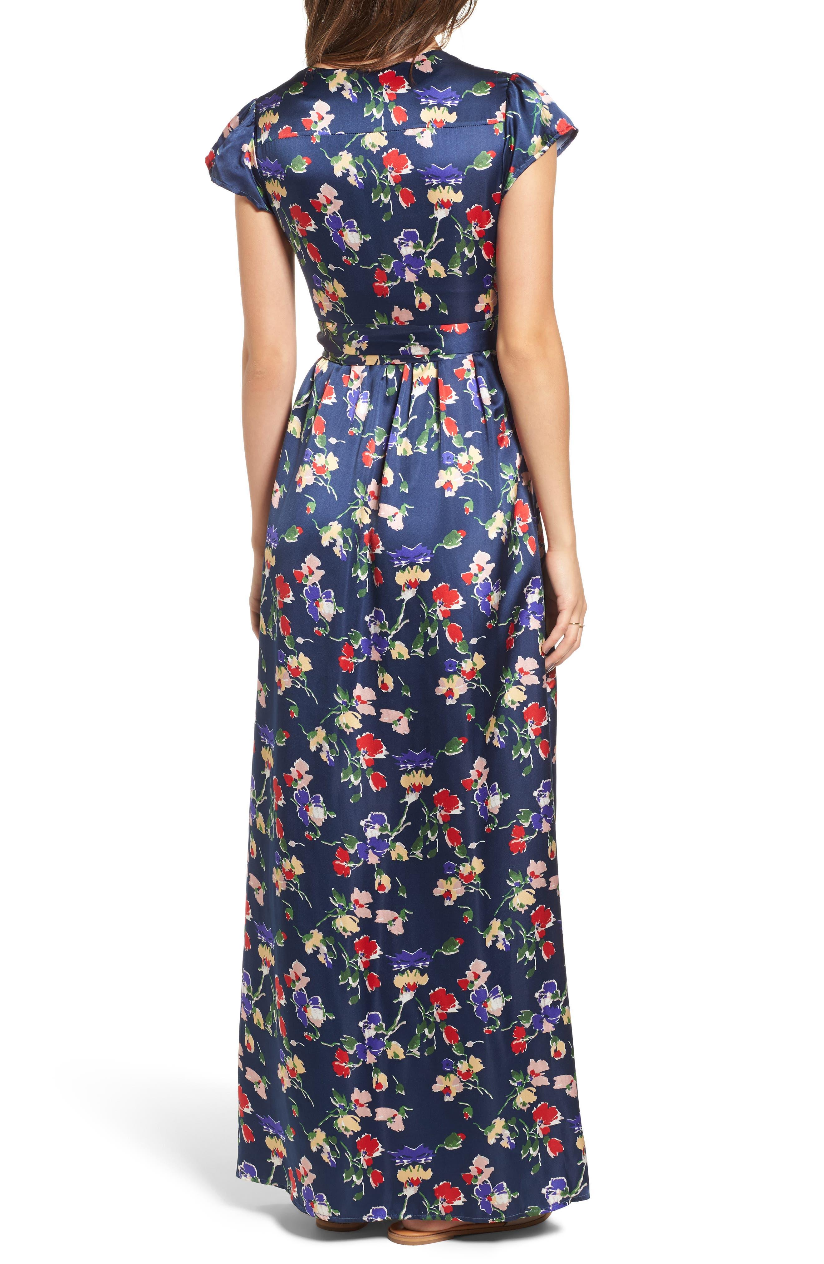 Floral Satin Faux Wrap Maxi Dress,                             Alternate thumbnail 2, color,                             900