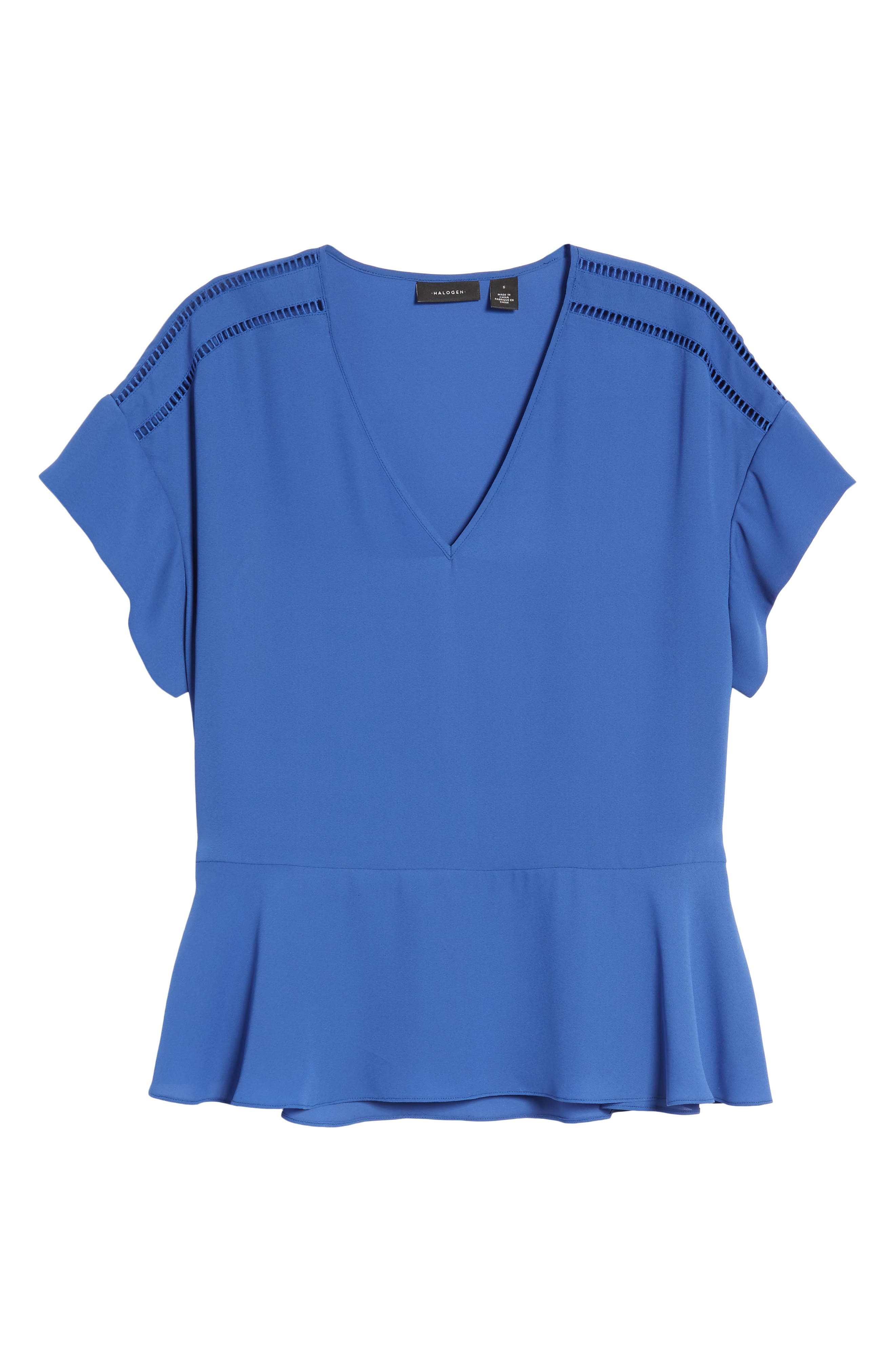 Ruffle Sleeve Peplum Stretch Cotton Blend Top,                             Alternate thumbnail 24, color,