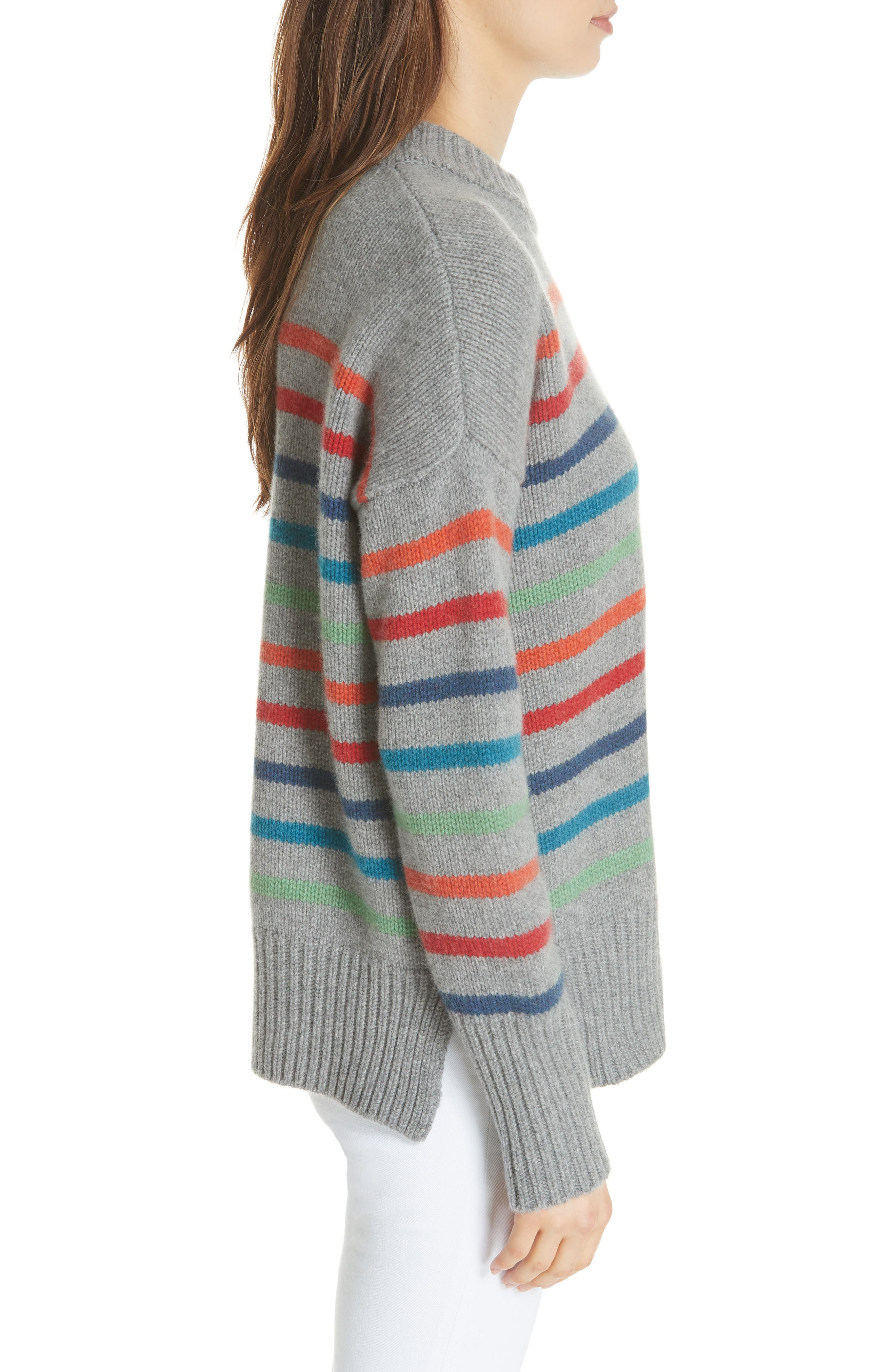 Marin Wool & Cashmere Sweater,                             Alternate thumbnail 3, color,                             RAINBOW STRIPE