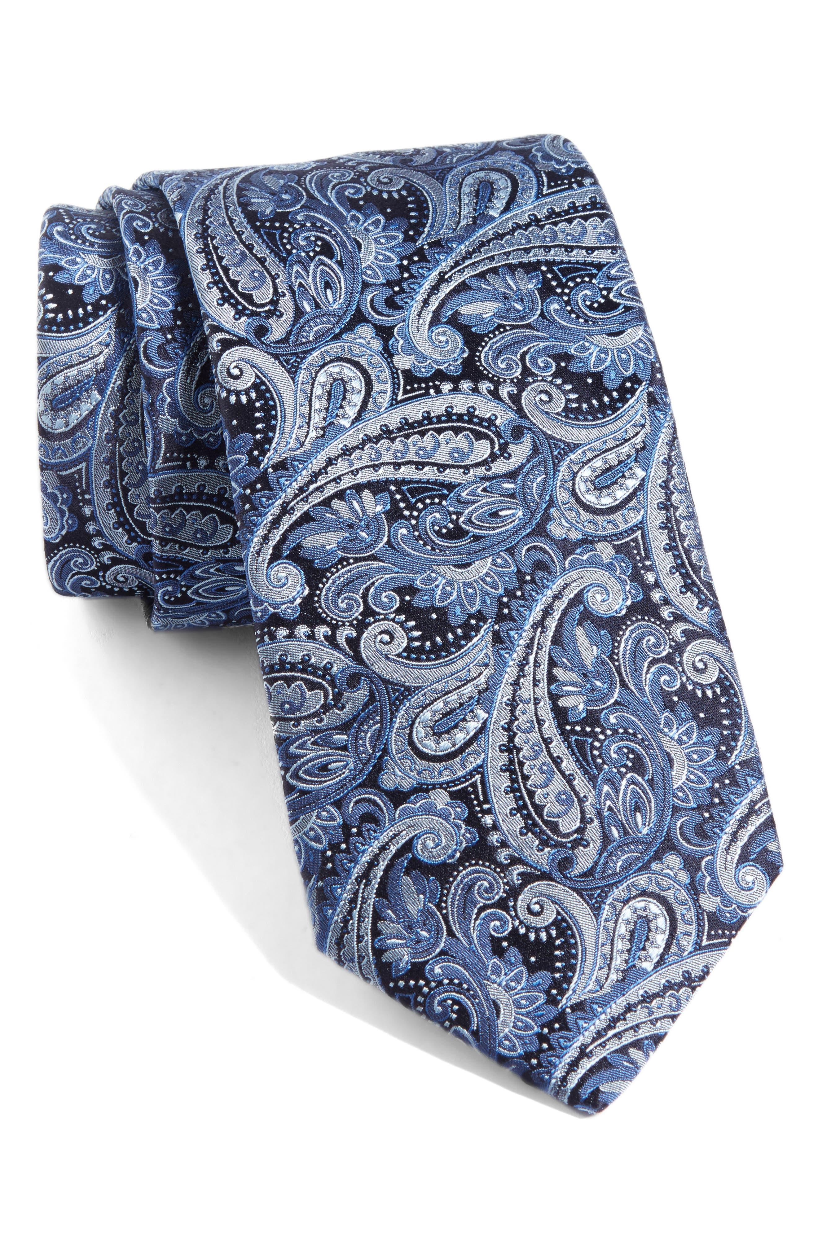 Paisley Silk Tie,                             Main thumbnail 1, color,                             439