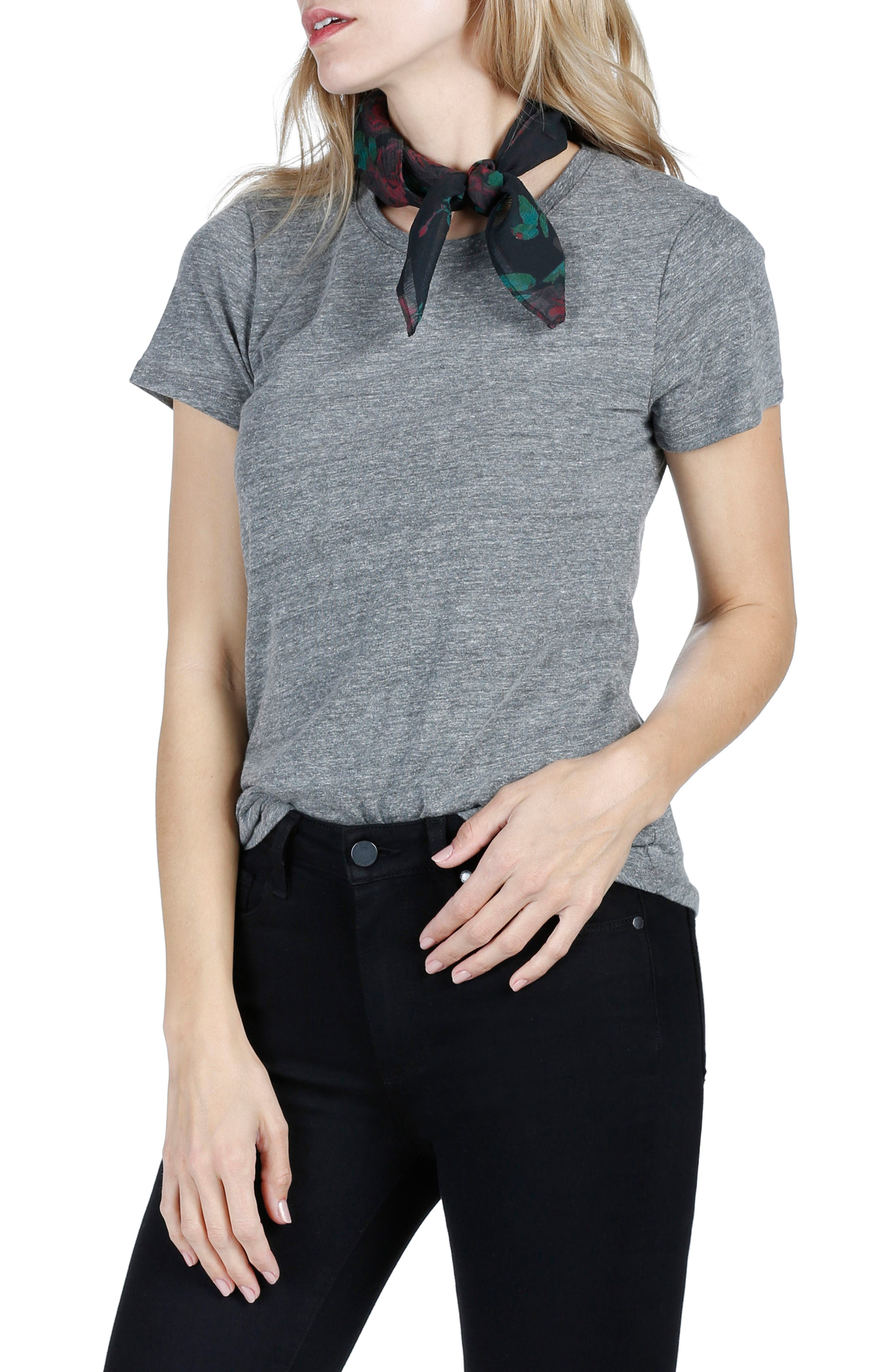 Gabrielle Silk Scarf,                         Main,                         color, BLACK MULTI
