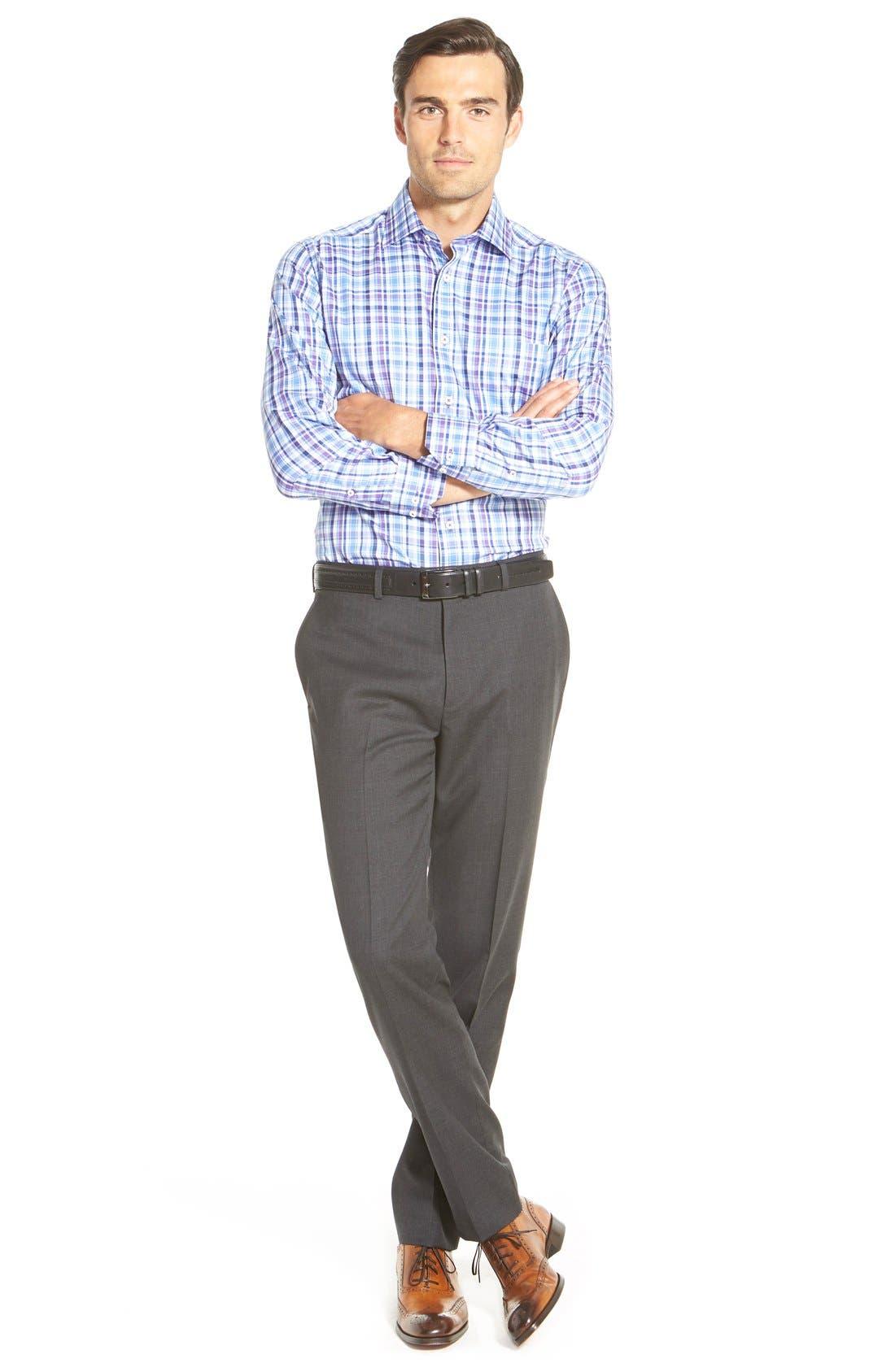 Gab Trim Fit Flat Front Pants,                             Alternate thumbnail 9, color,                             002