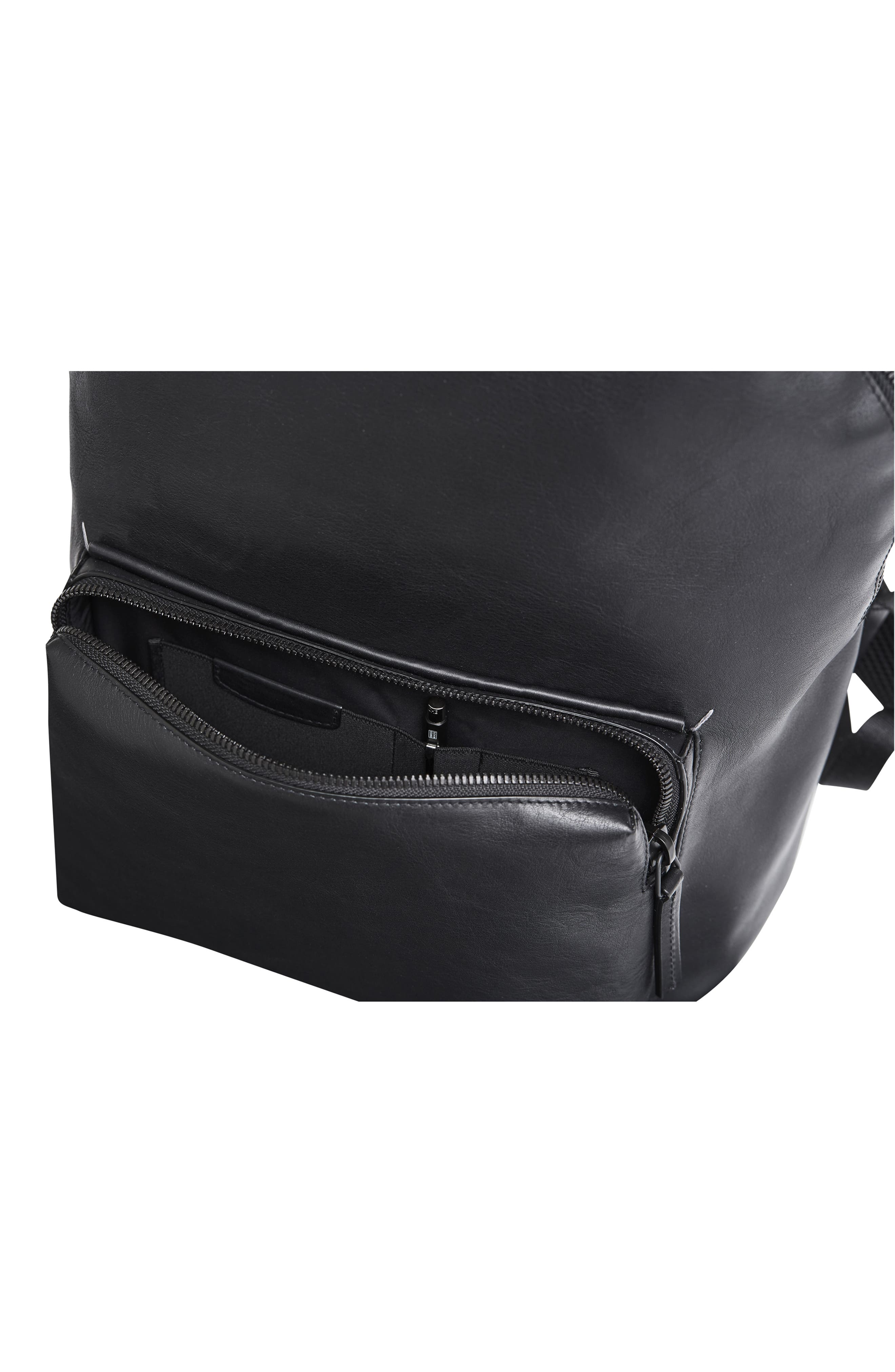 Leather Backpack,                             Alternate thumbnail 9, color,                             BLACK LEATHER