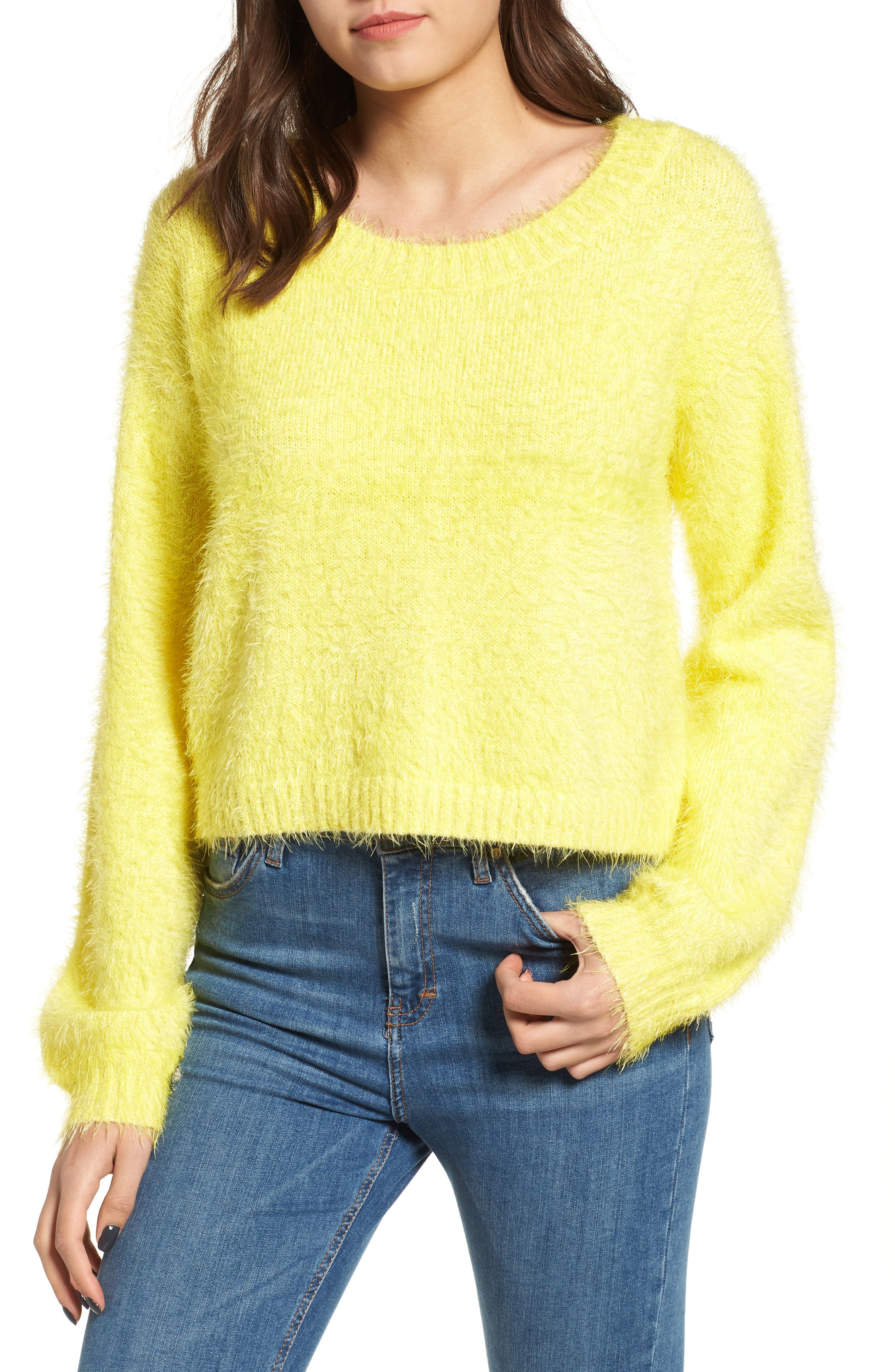 Clover Fields Chenille Sweater,                             Main thumbnail 1, color,                             MARIGOLD