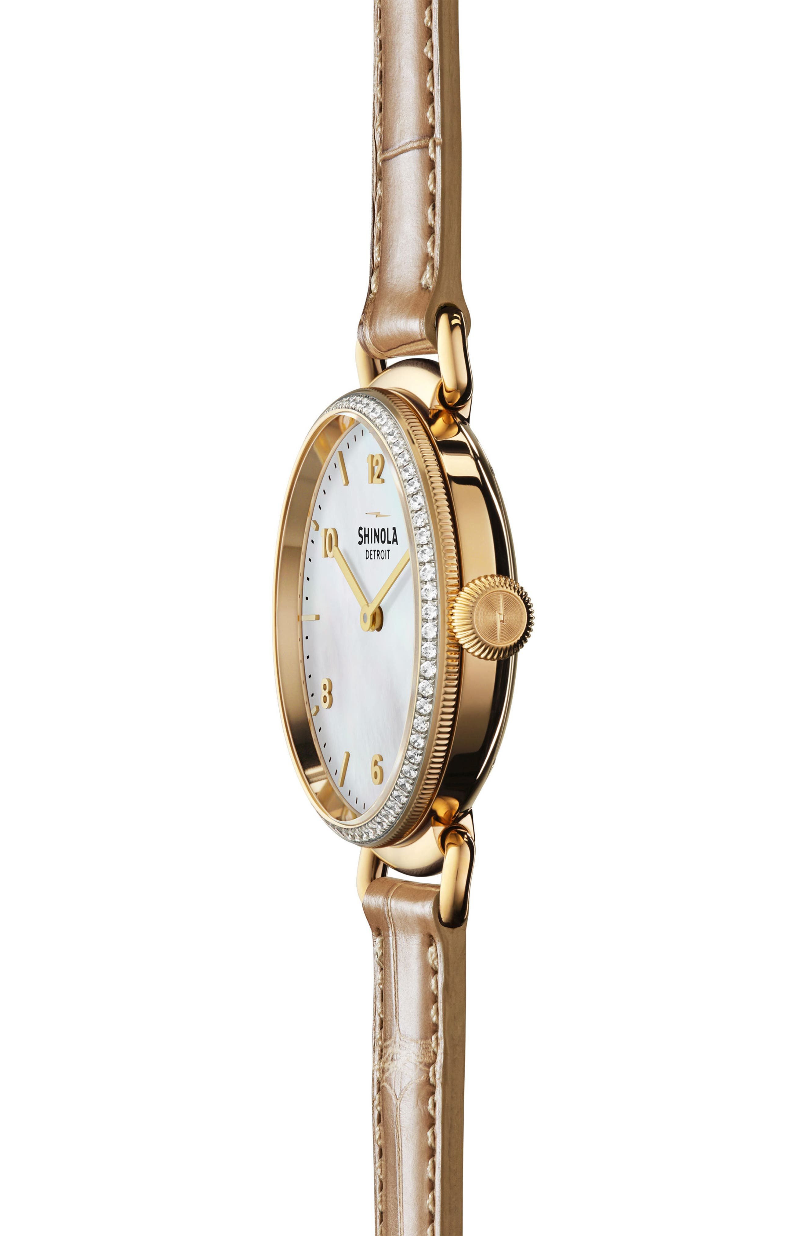 Canfield Diamond Alligator Strap Watch, 32mm,                             Alternate thumbnail 3, color,                             NATURAL/ MOTHER OF PEARL/ GOLD