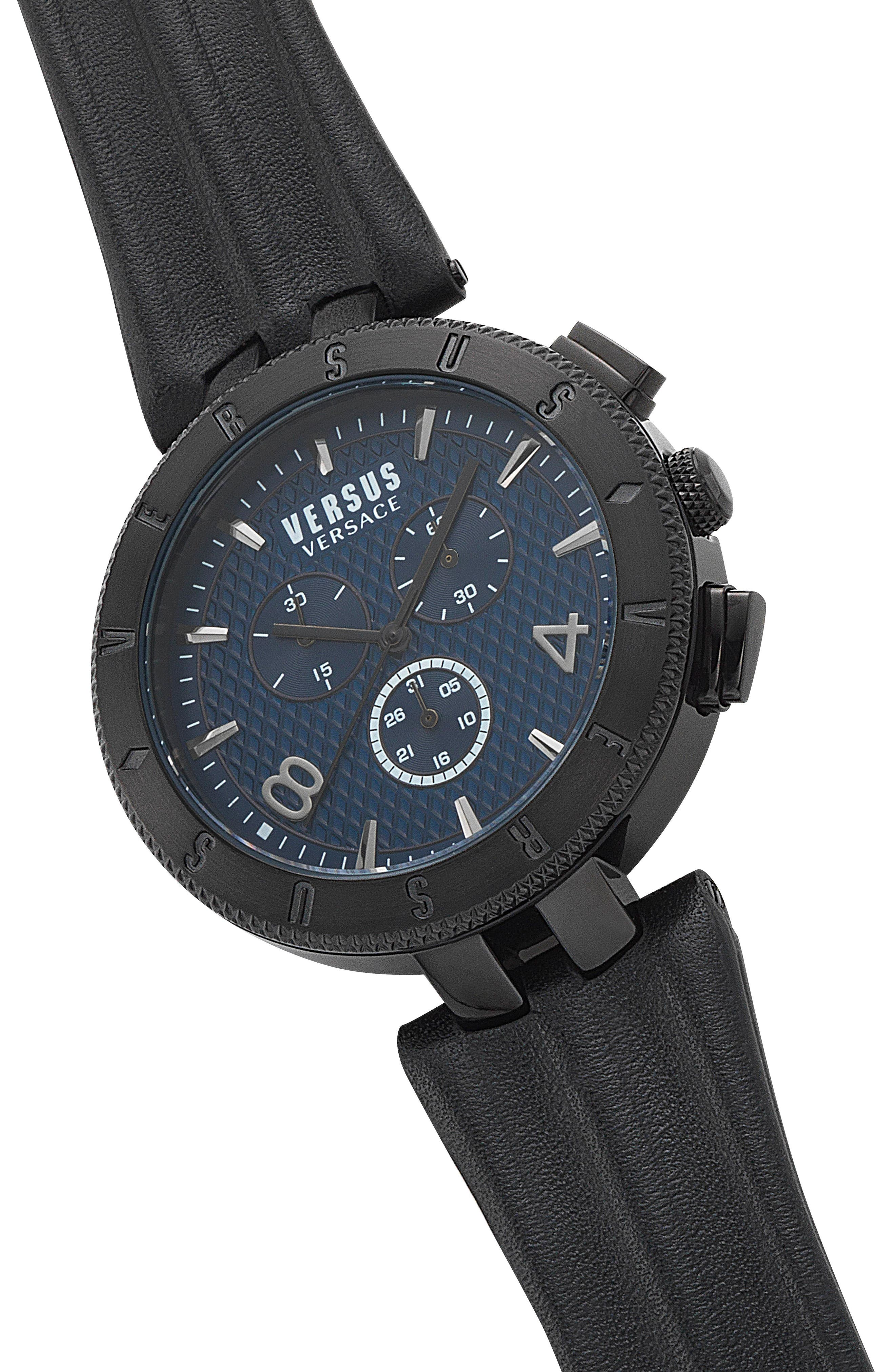 Versus by Versace Logo Chronograph Leather Strap Watch, 44mm,                             Alternate thumbnail 5, color,