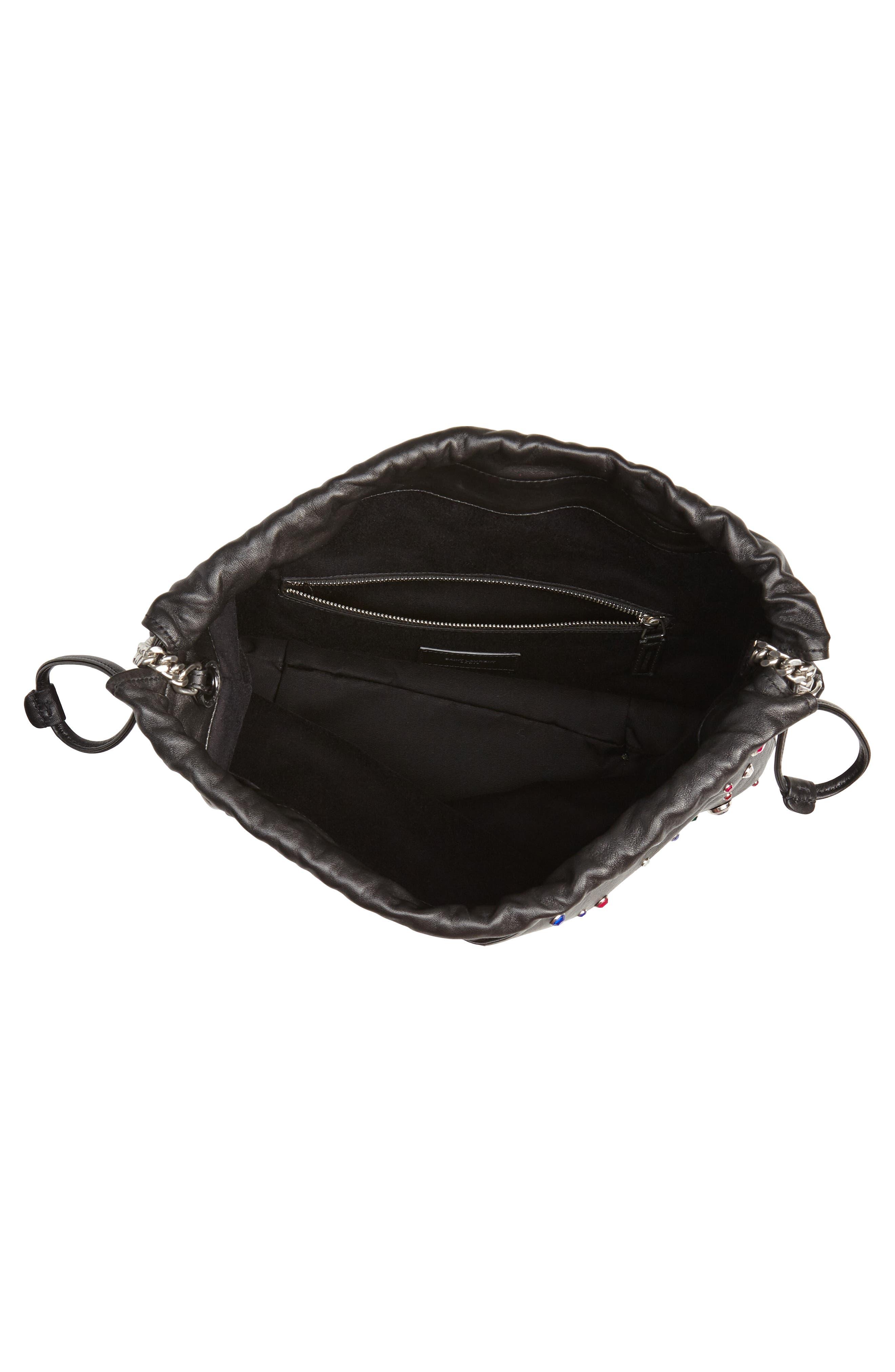 Teddy Studded Leather Bucket Bag,                             Alternate thumbnail 4, color,                             NOIR MULTI