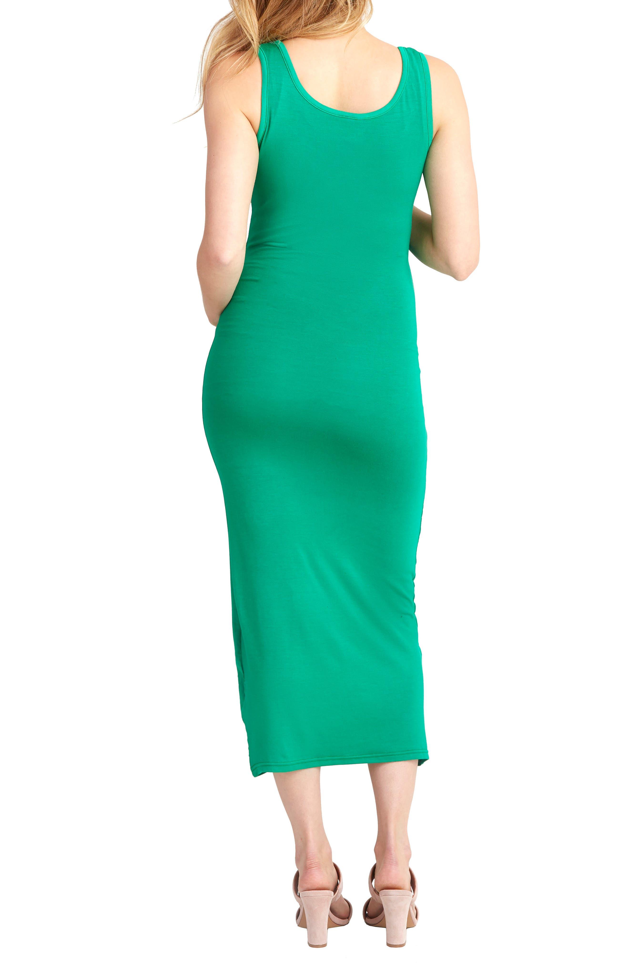 Snap Placket Maternity/Nursing Tank Dress,                             Alternate thumbnail 2, color,                             KELLY GREEN