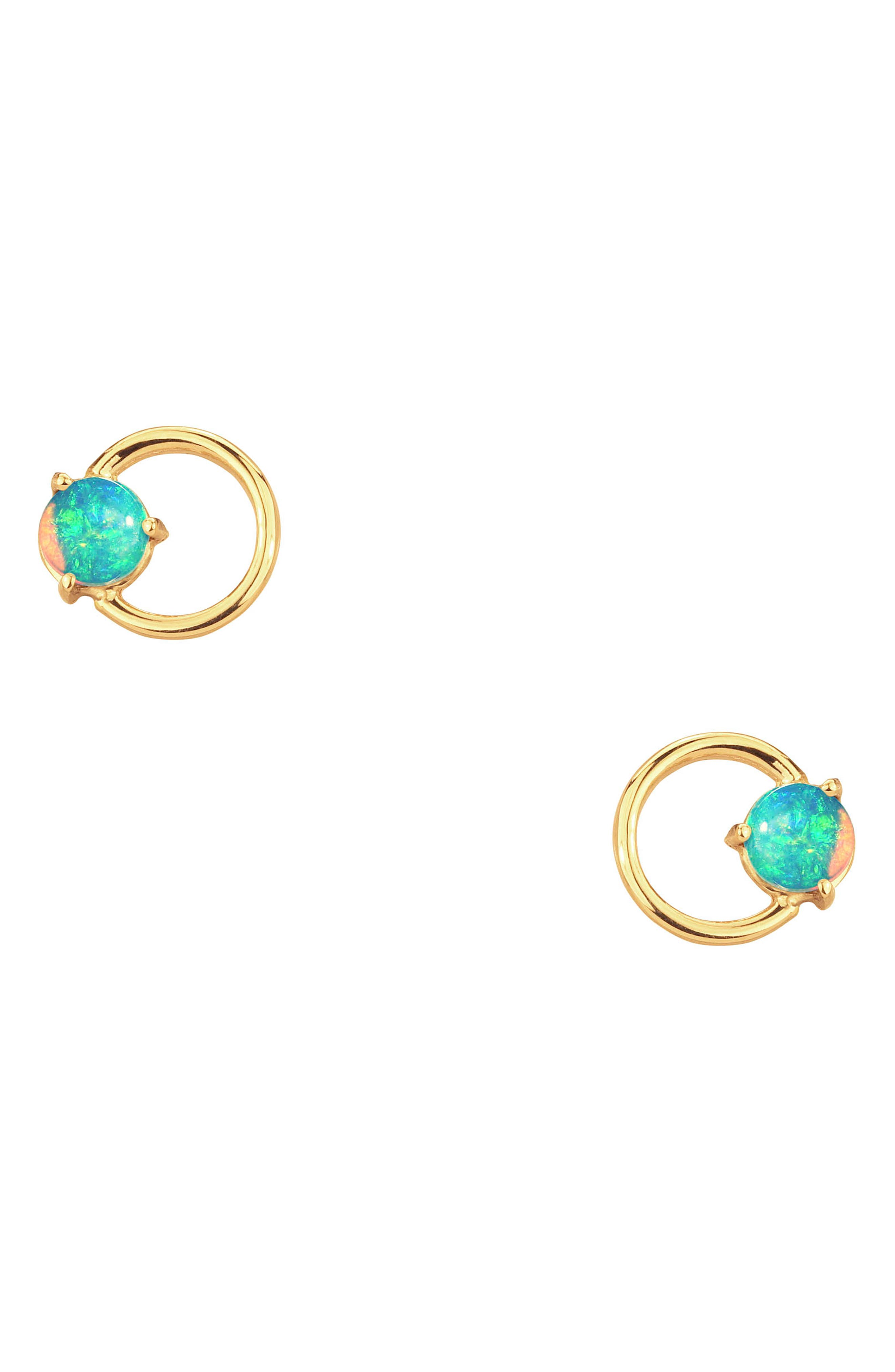 Large Opal Circle Stud Earrings,                         Main,                         color, 14KT GOLD