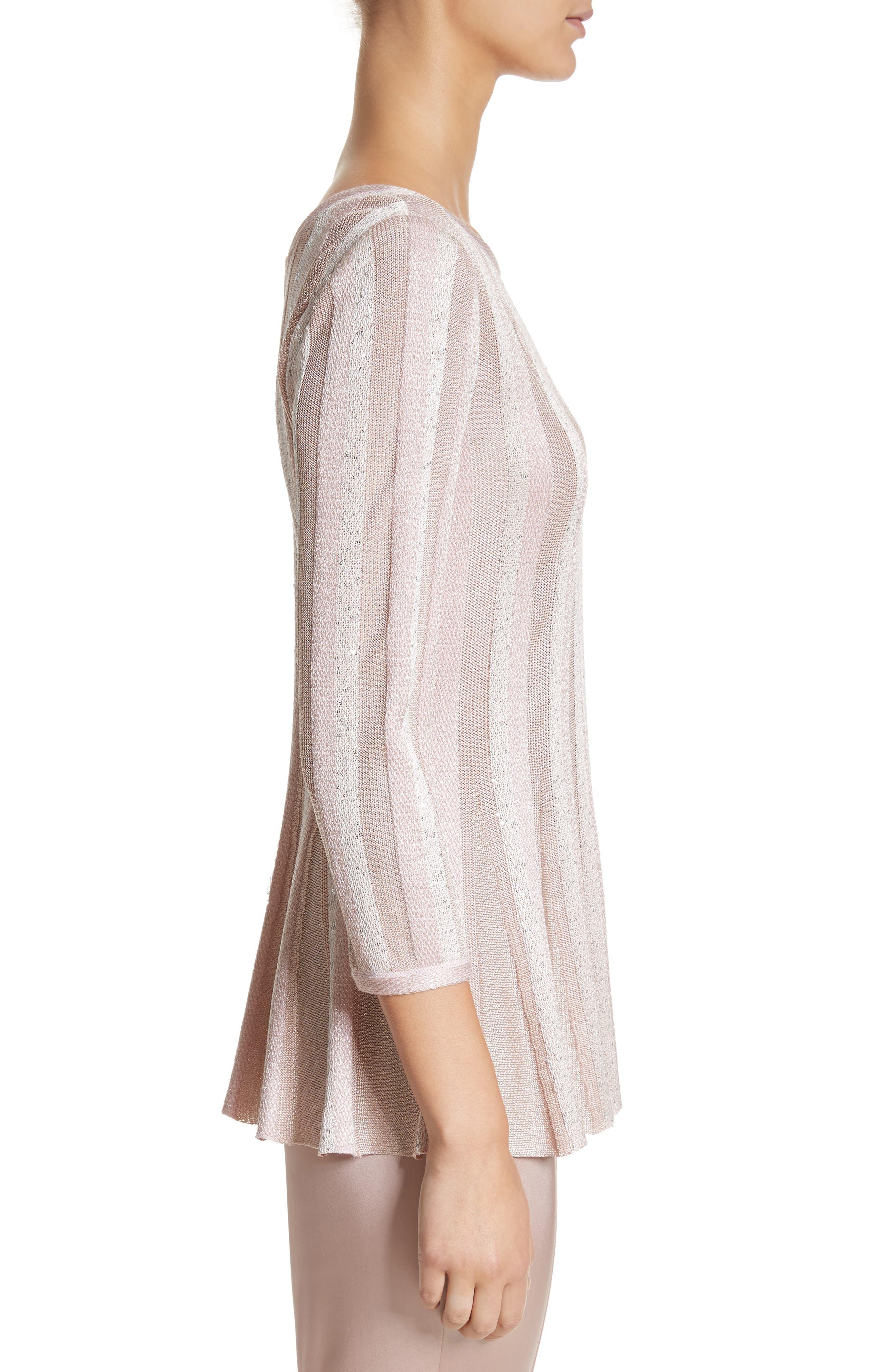 Ombré Sequin Stripe Knit Top,                             Alternate thumbnail 3, color,                             650
