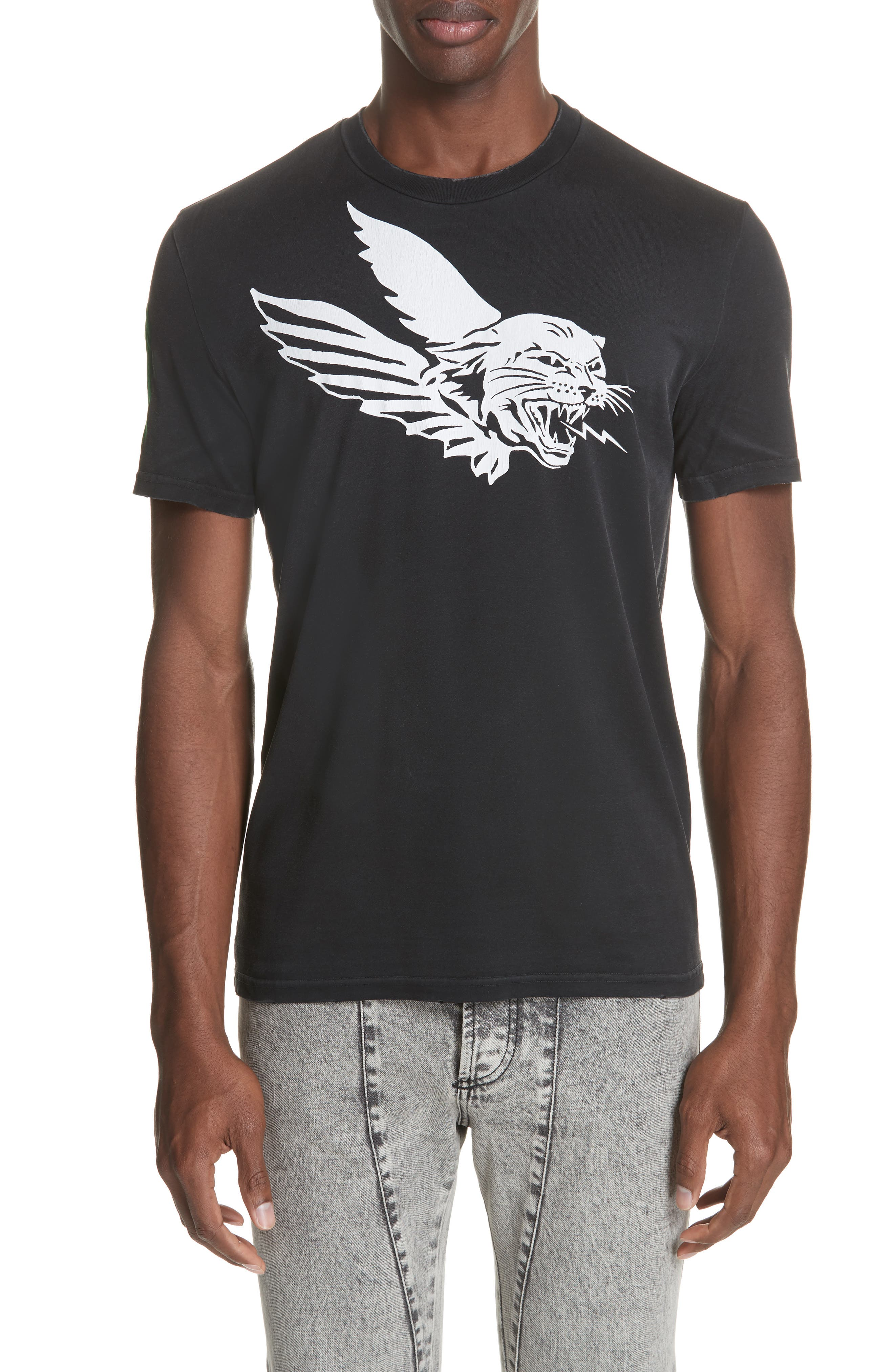 Flying Tiger Graphic T-Shirt,                             Main thumbnail 1, color,                             BLACK
