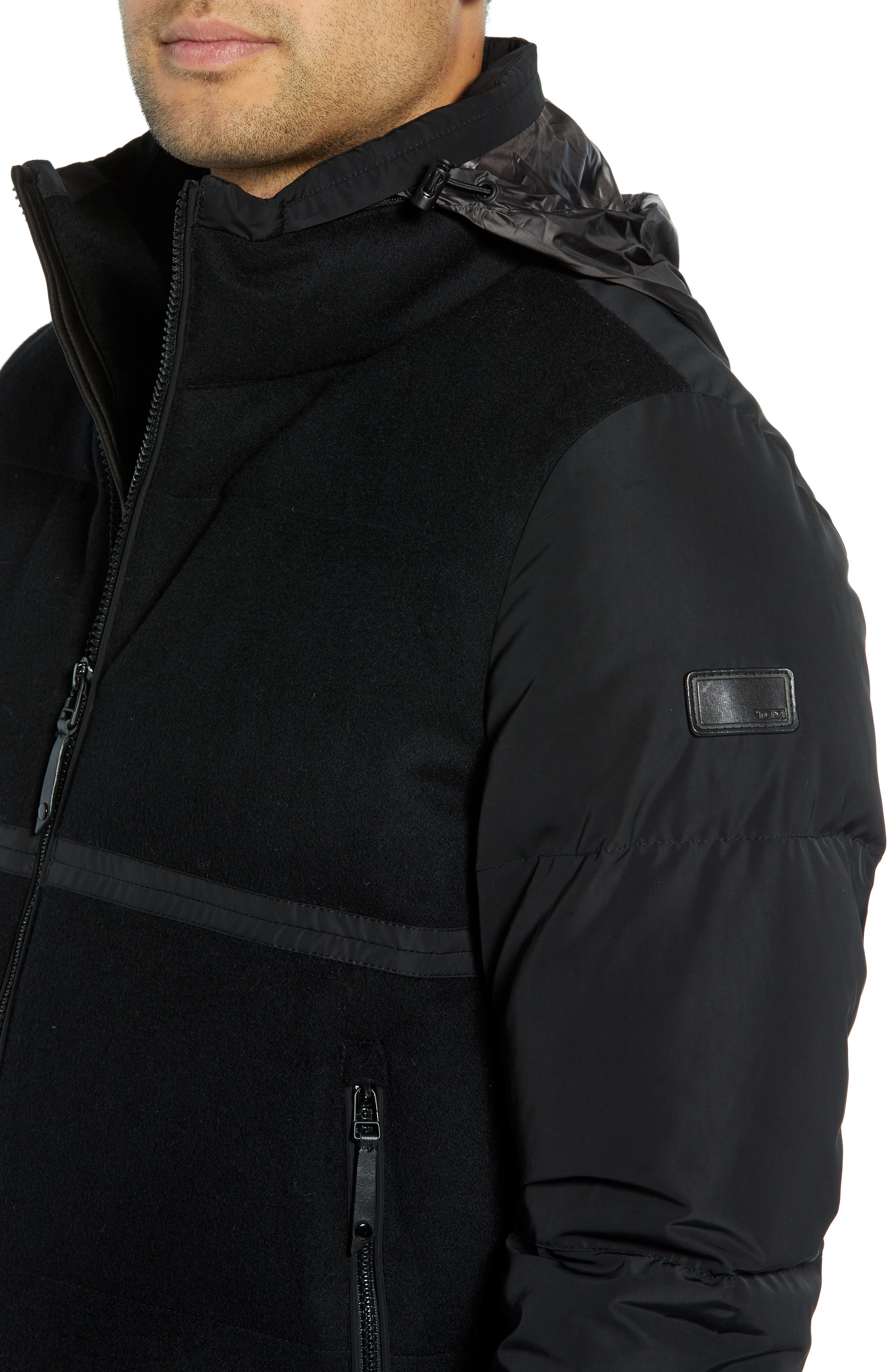 Wool Puffer Jacket,                             Alternate thumbnail 4, color,                             BLACK